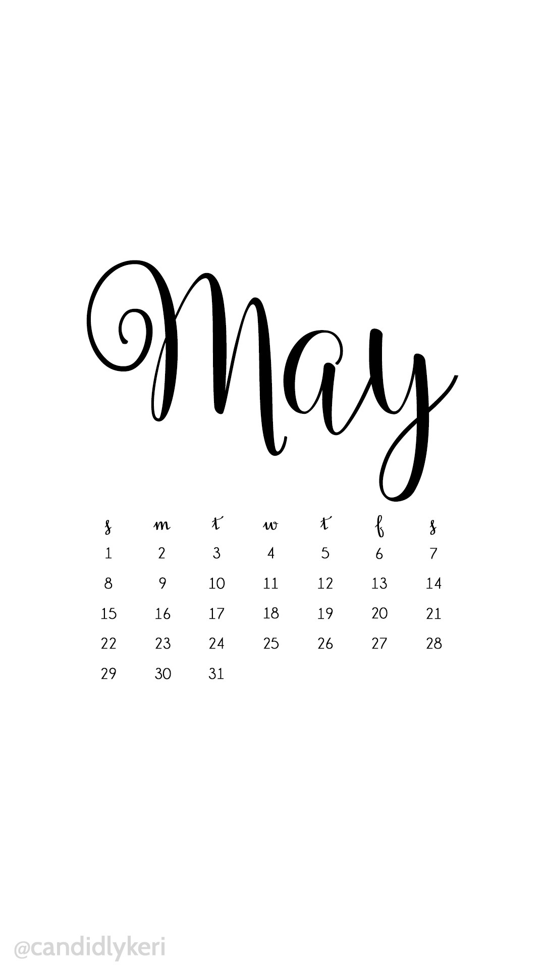 White and black script may 2016 calendar wallpaper free download for iPhone  android or desktop background