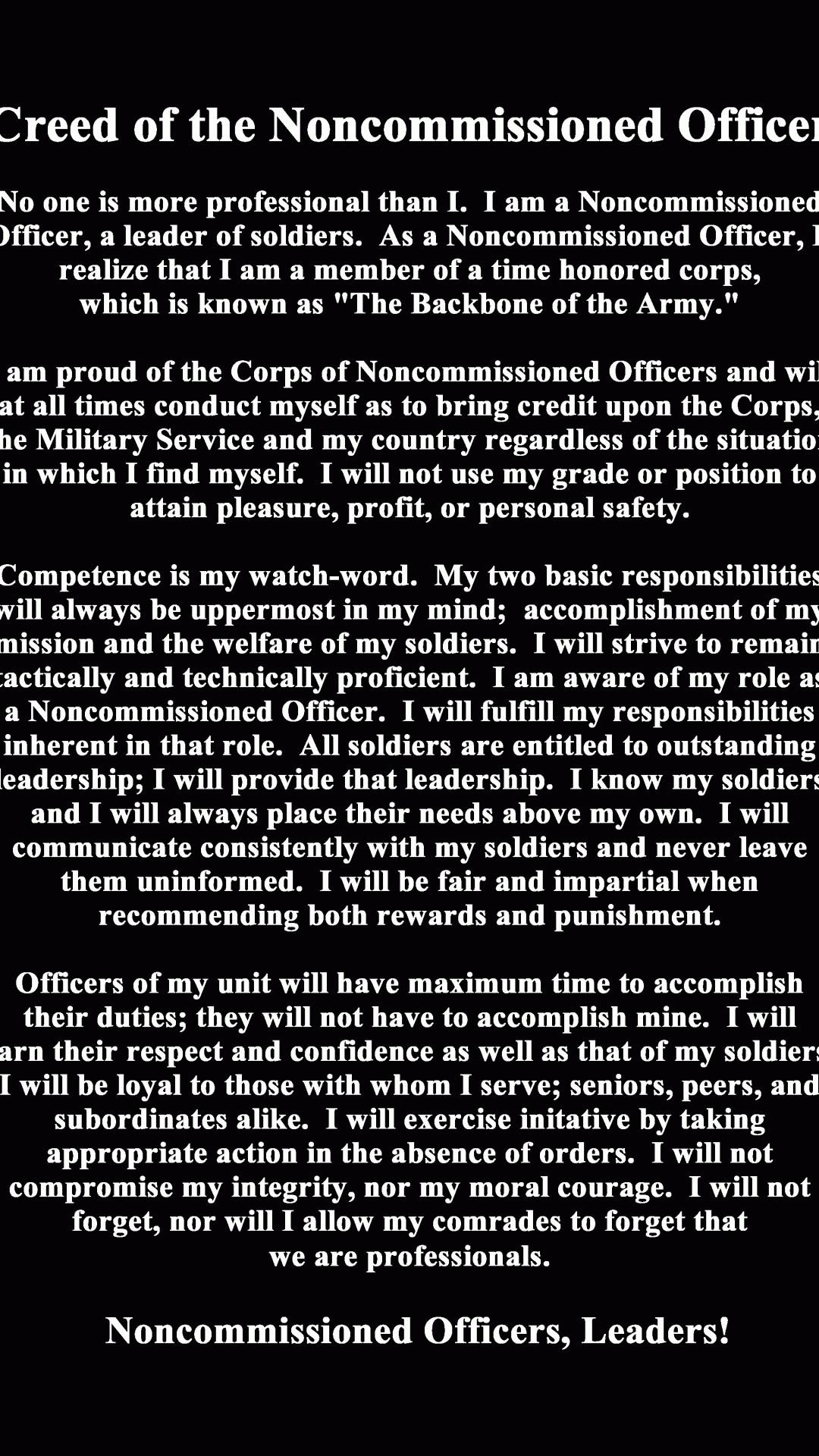 us army nco creed wallpaper