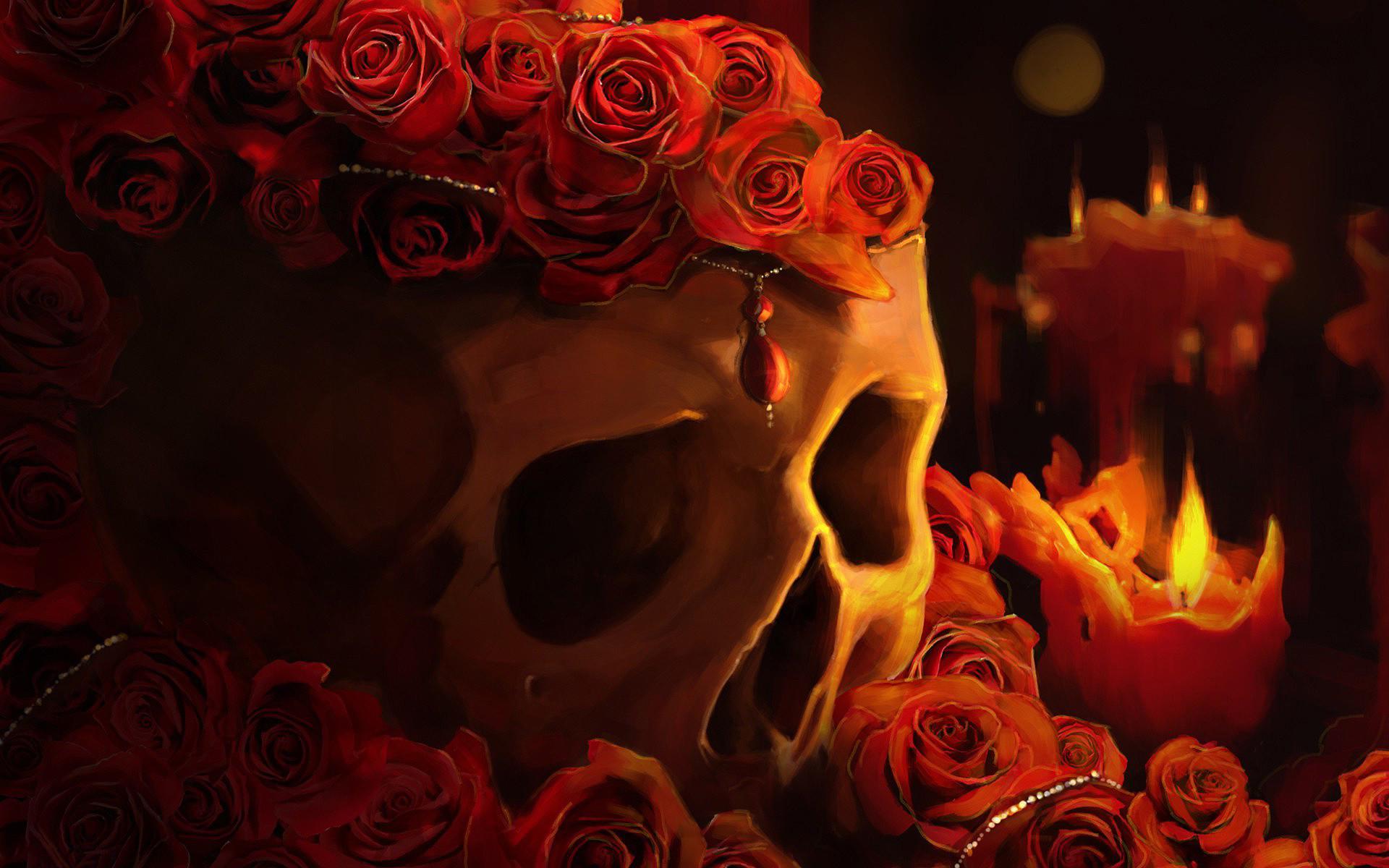 Red Roses Skull Wallpapers – https://hdwallpapersf.com/red-roses