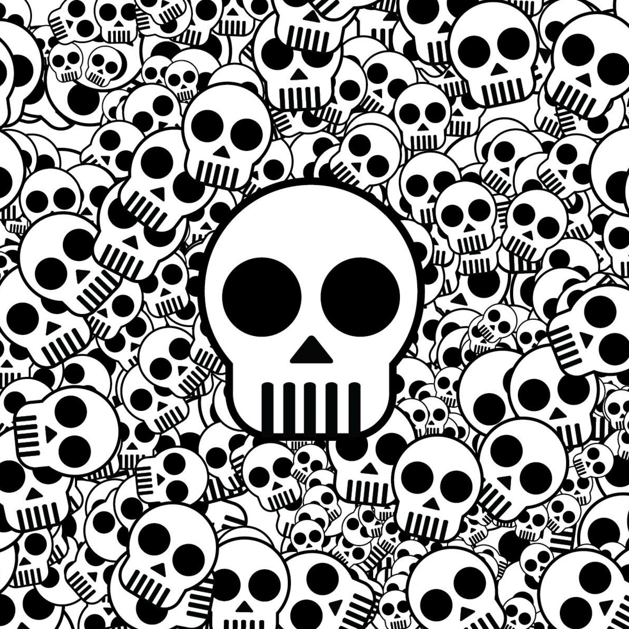 Preview wallpaper skull, texture, black white, surface 2048×2048