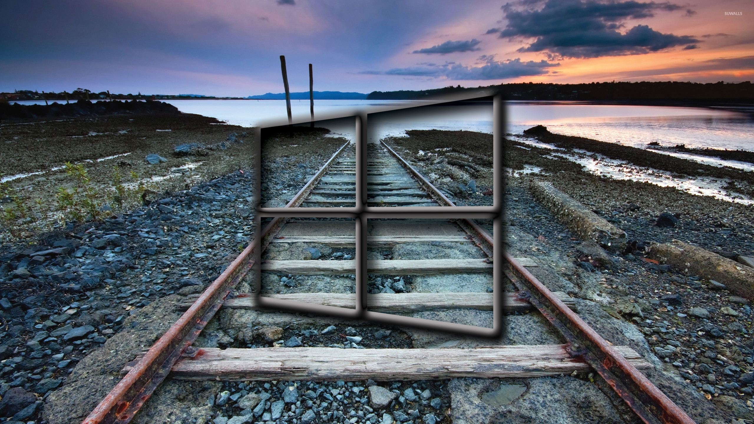 Windows 10 transparent logo over the railway tracks wallpaper