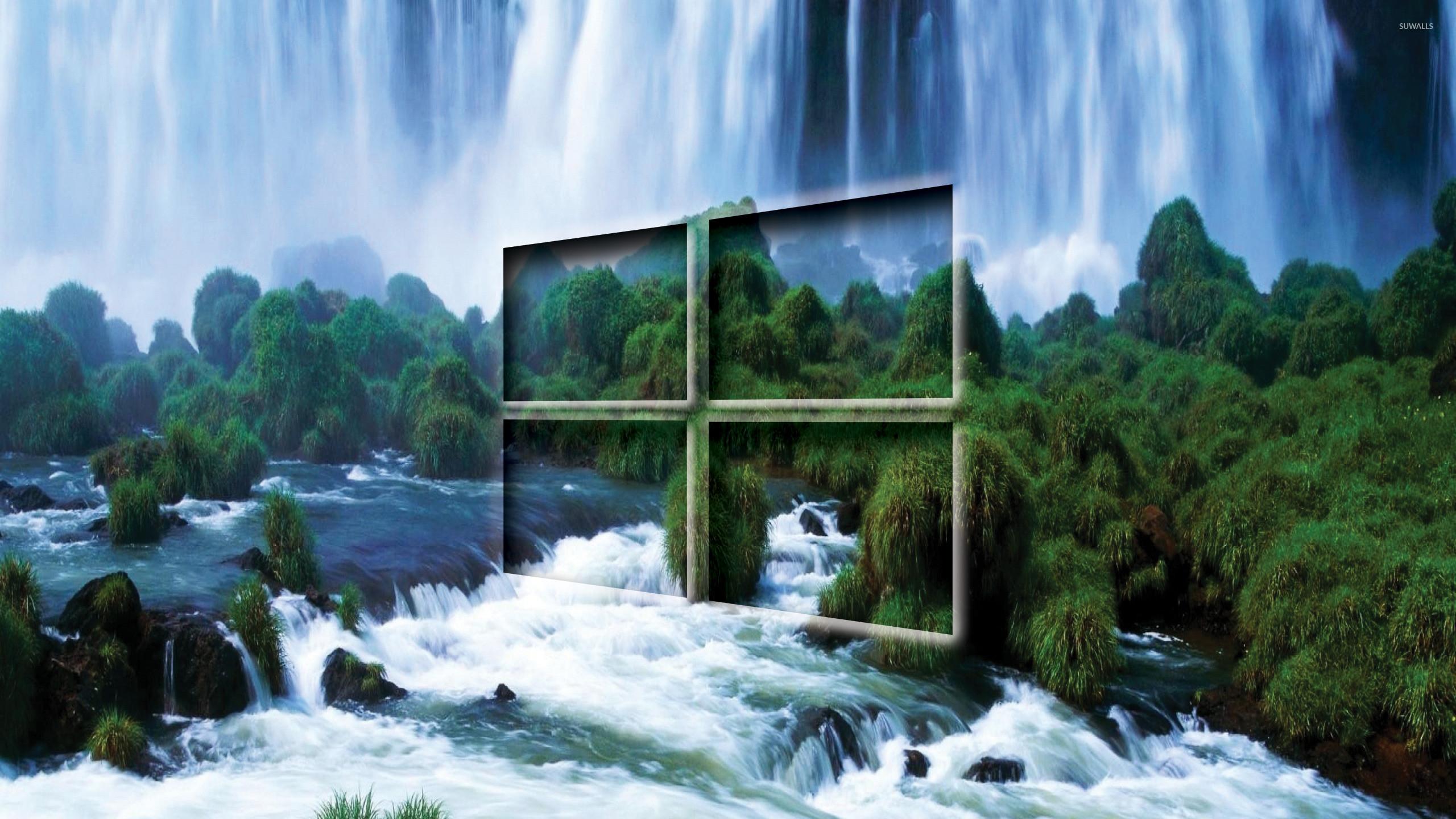 Windows 10 transparent logo by the waterfall wallpaper jpg