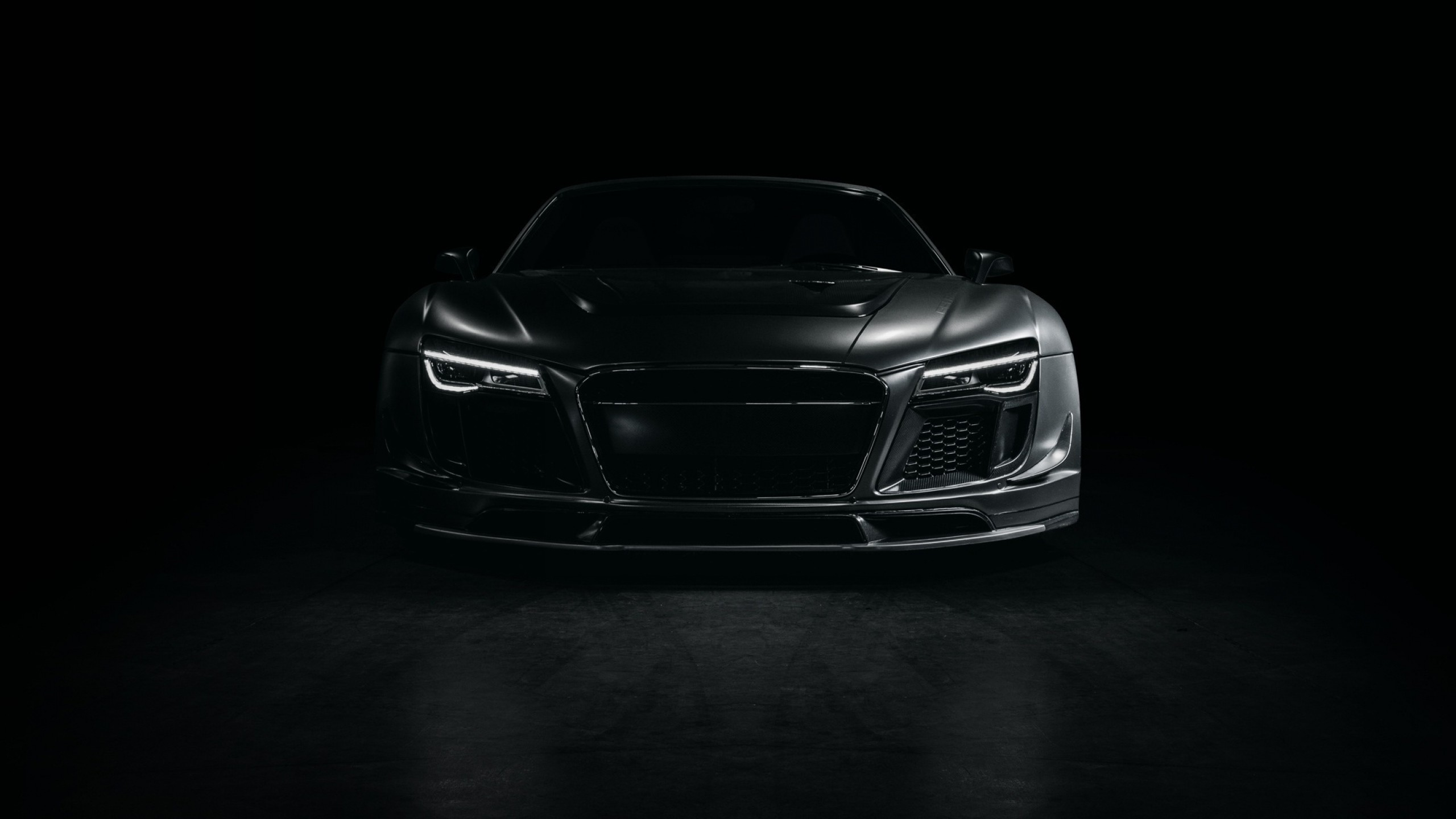 Wallpaper audi, r8, sports car, tuning, front view, black