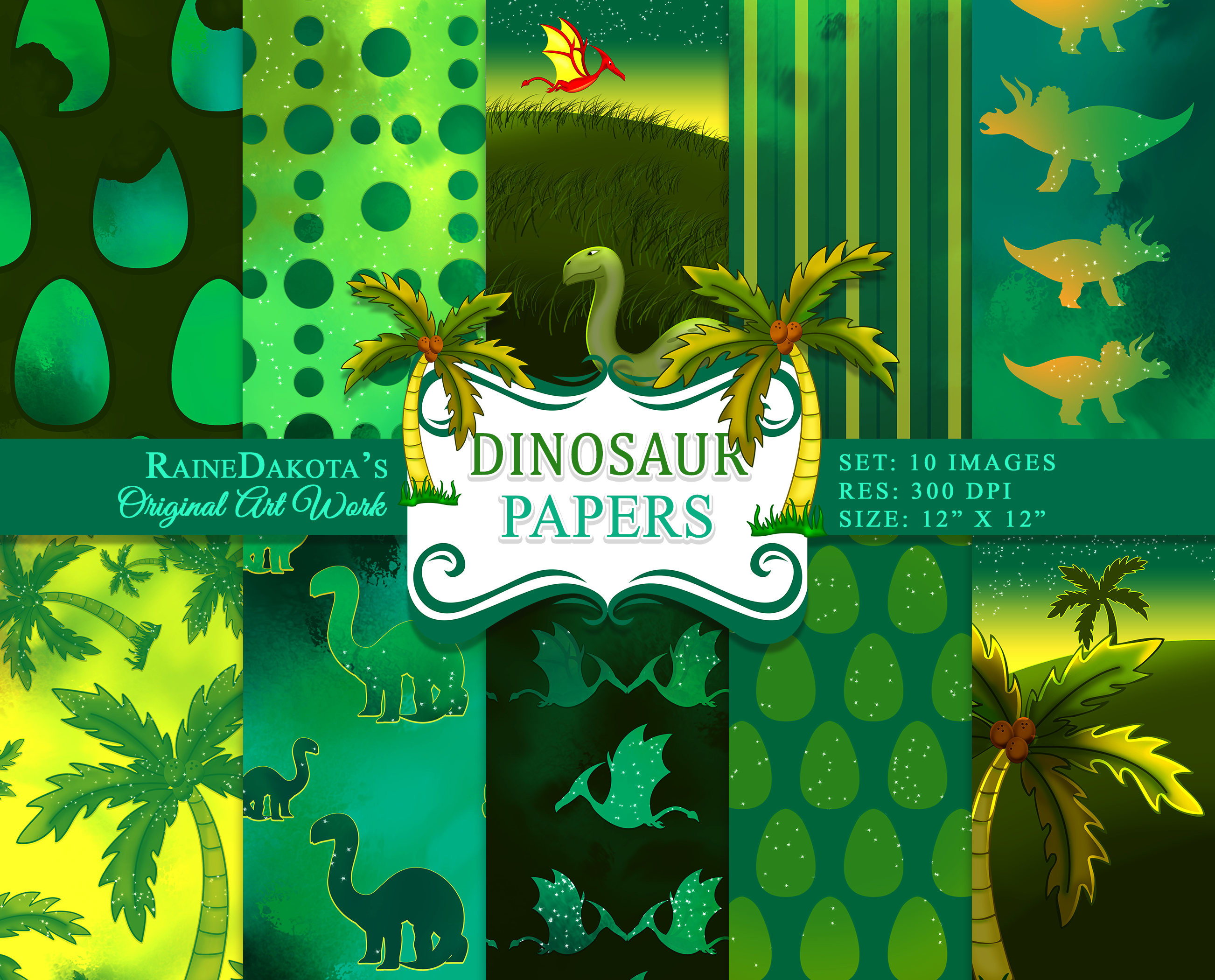 Digital Dinosaur Paper Set, Dinosaur Scrapbook Paper, Dinosaur Images,  Digital Paper, Dinosaur Paper, Background, Dino INSTANT DOWNLOAD