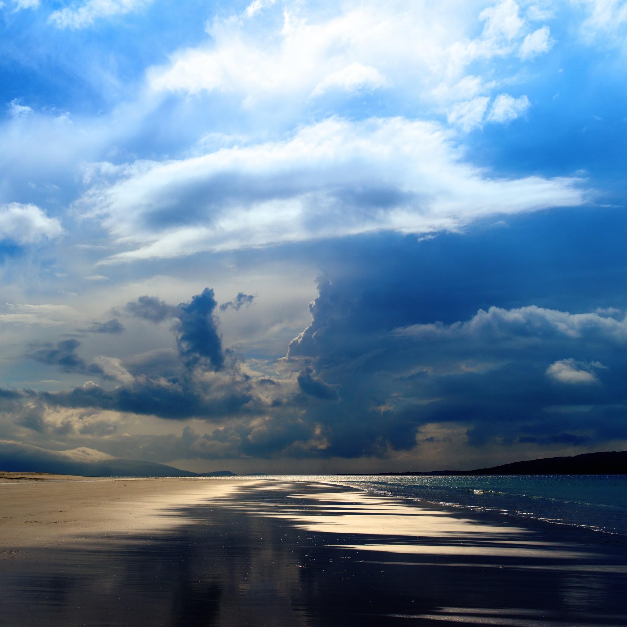 105 0: Sea Ocean Evening Beach Sand Sky Clouds iPad wallpaper