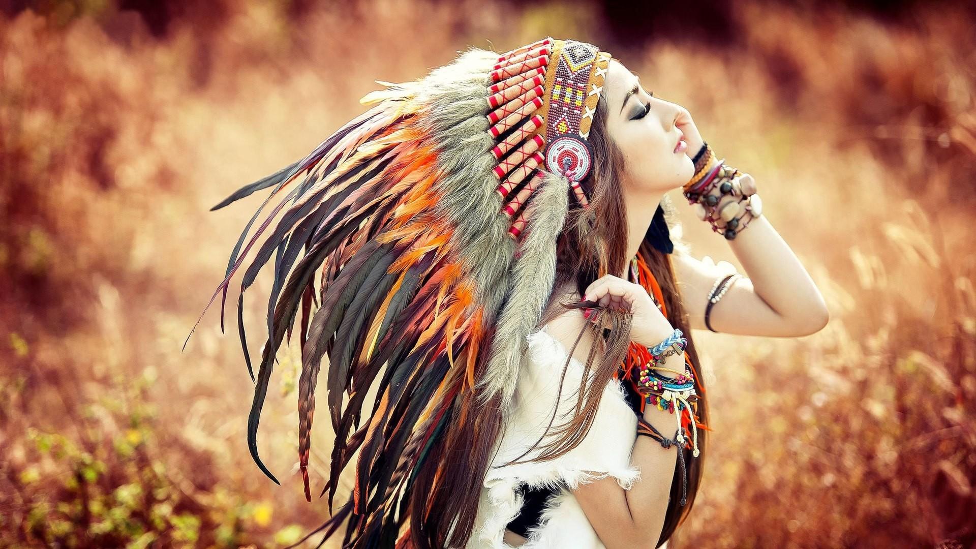 Women – Linh Napie Native American Cosplay Feather Bokeh Field Woman Girl  Vietnamese Asian Model Wallpaper