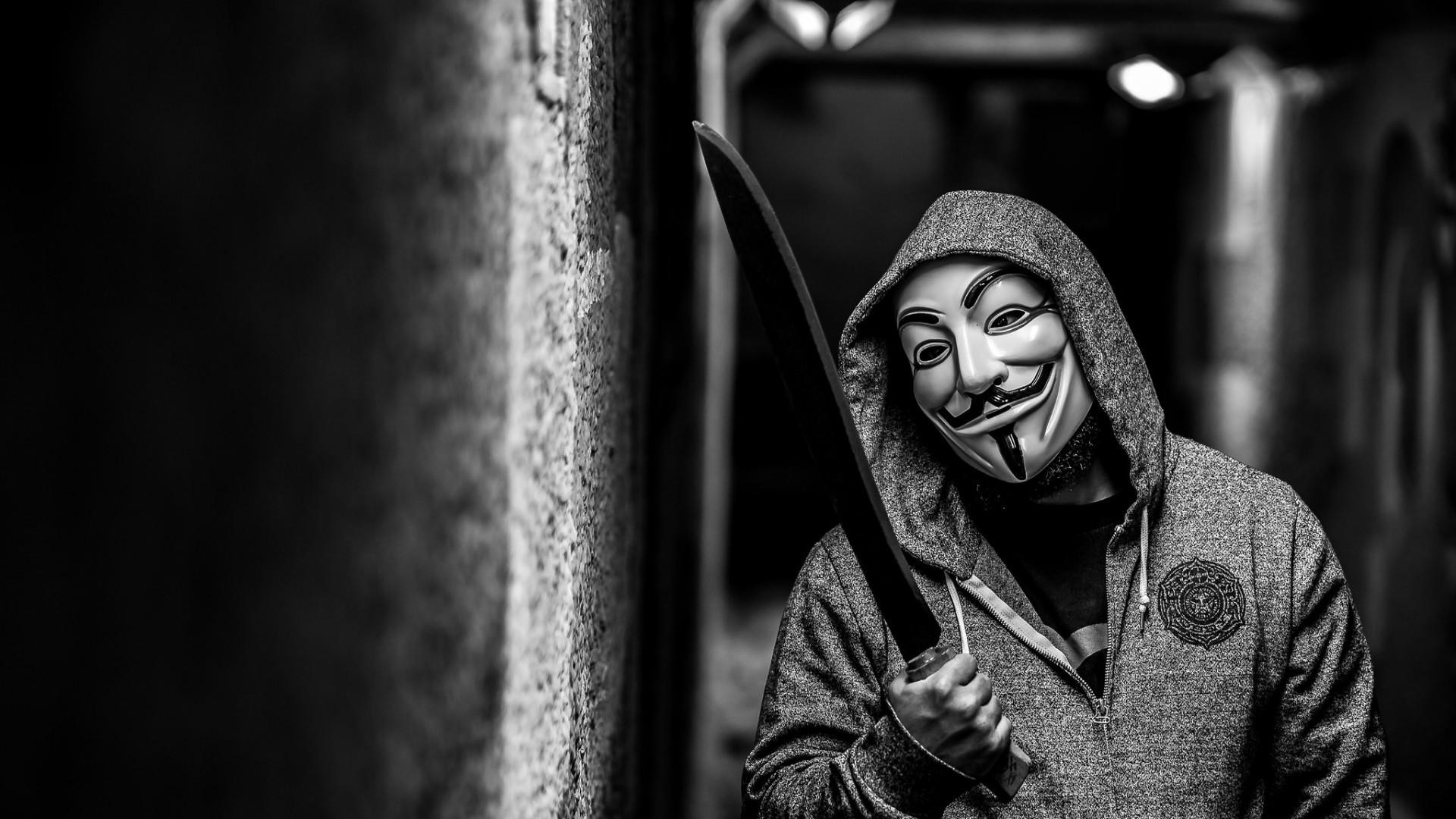 Wallpaper anonymous, guy fawkes mask, mask, machete