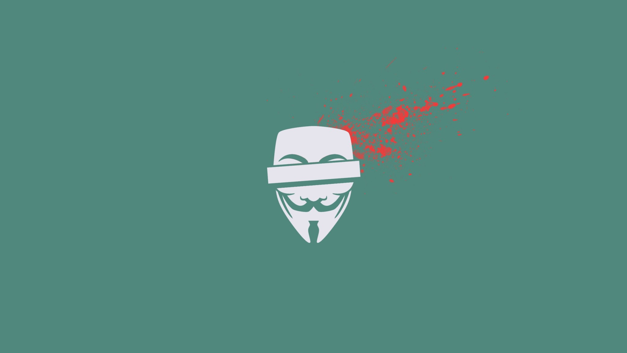 Preview wallpaper anonymous, blood, mask, vector, splashes 2048×1152