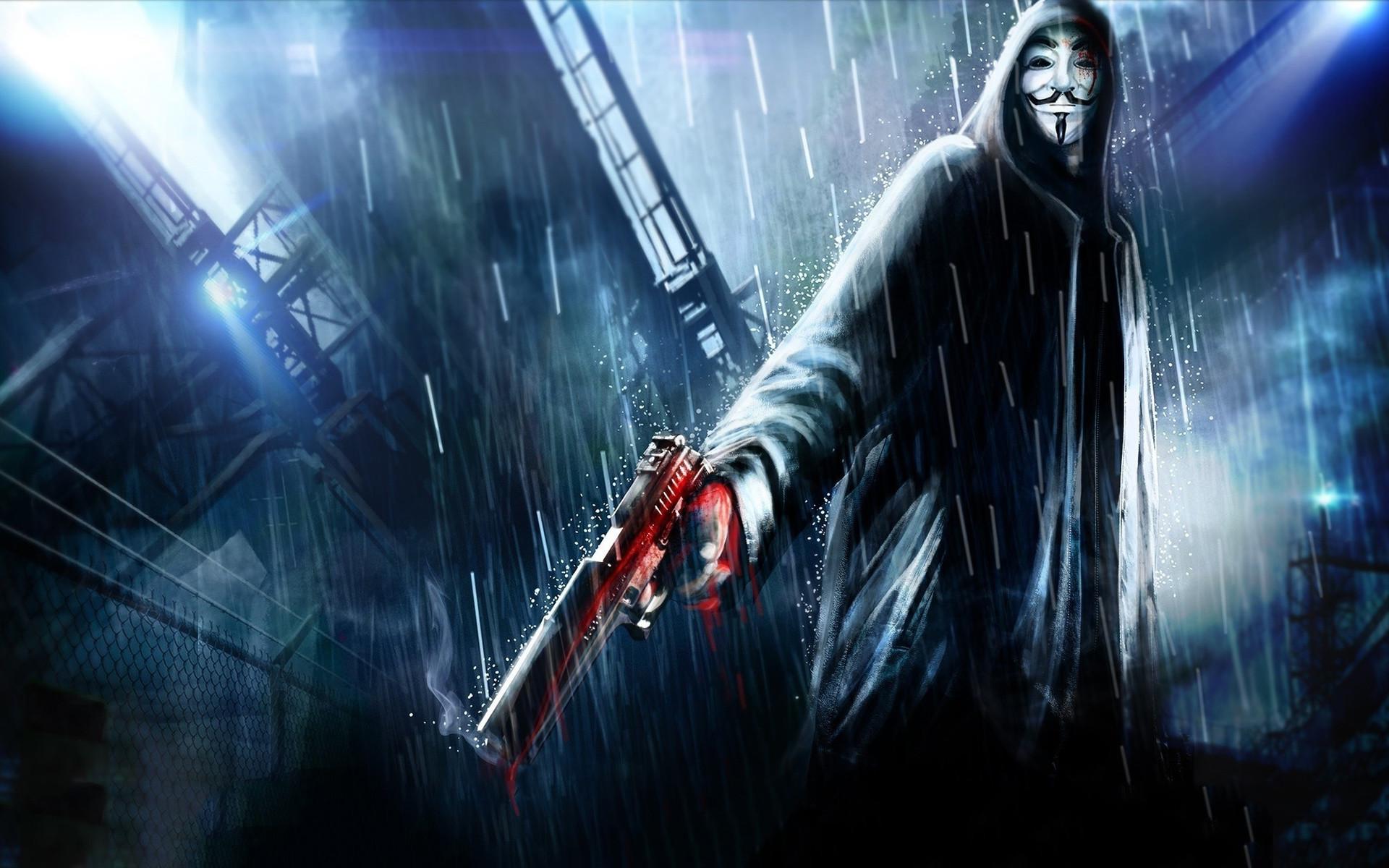 Anonymous, Vendetta, Raining, Pistol