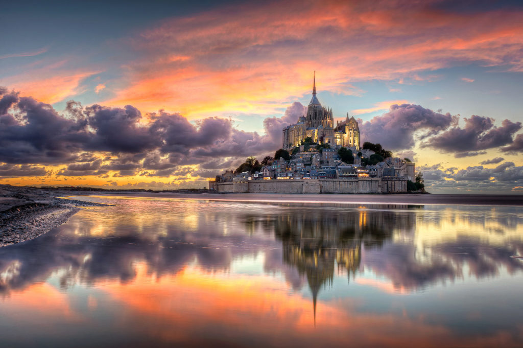 View Of Majestic Castles Mont Saint-Michel At sunset From Normandy beach  photo hd wallpaper