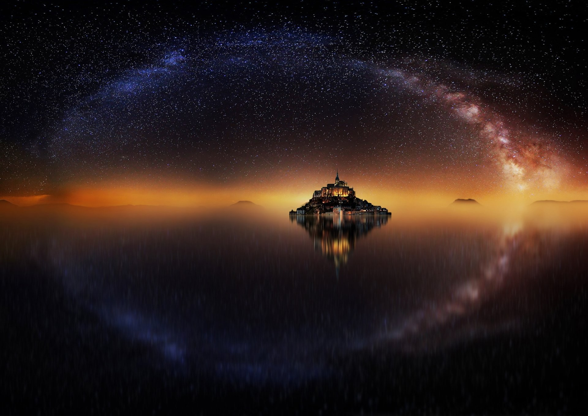 france island fortress mont -saint-michel mount michael the archangel night  star sky milky