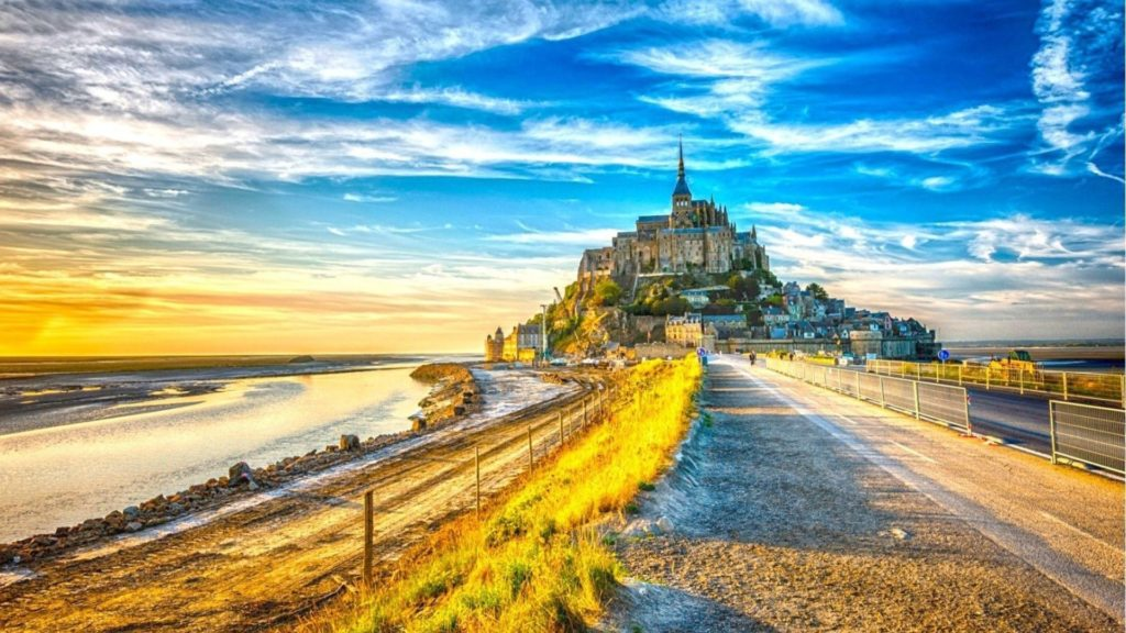 Medieval – Fantastic Mont Saint Michel Normandy Paninsula Sea Hill Sky  Monestary Wallpaper Gallery for HD
