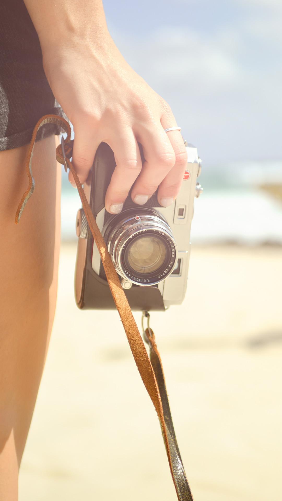 Nature Beach Camera Hand Vacation Summer #iPhone #6 #plus #wallpaper