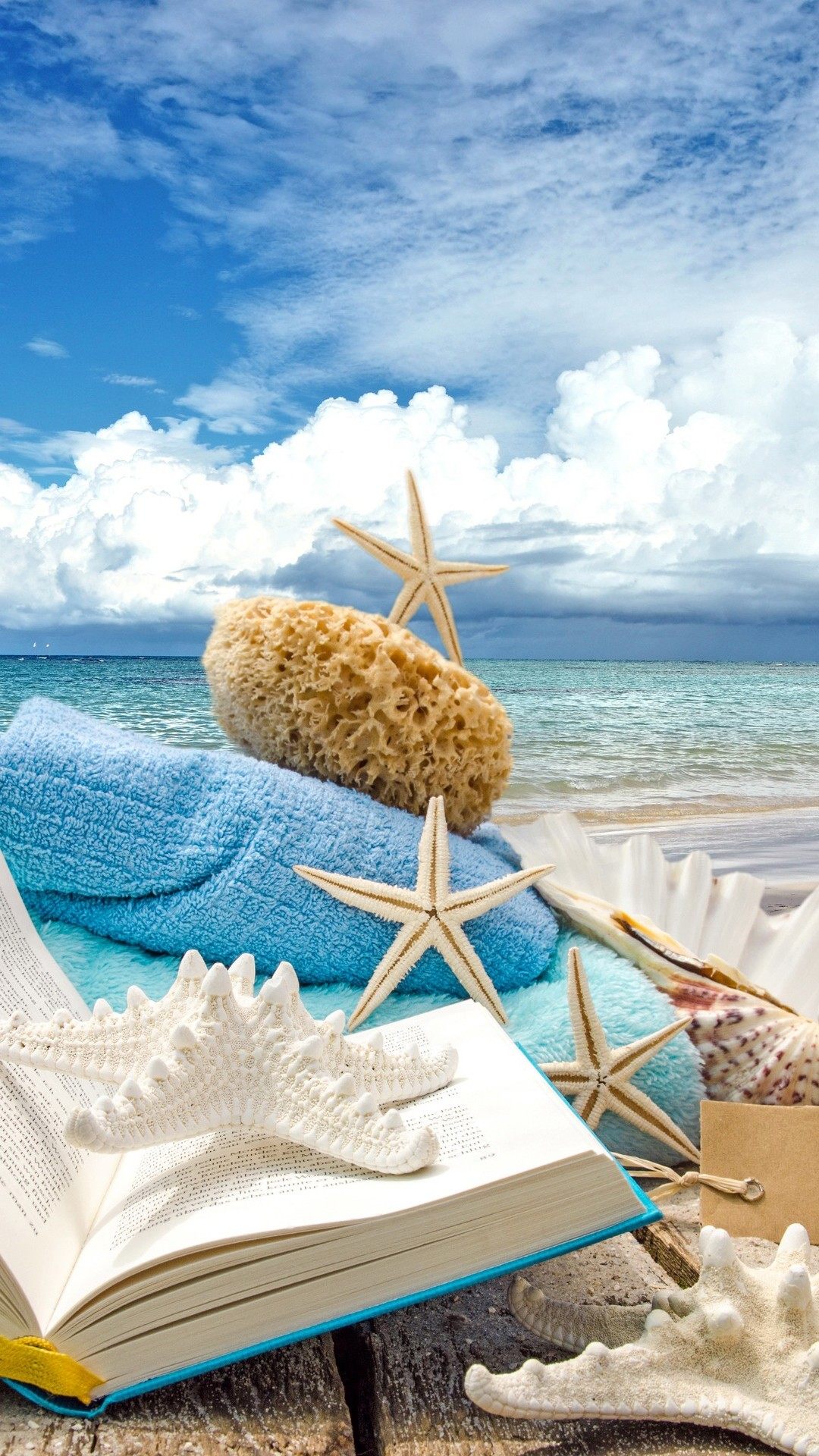 … Summer Iphone Wallpaper Summer Beach Book Seashells Sea Stars iPhone 6  Plus HD Wallpaper …