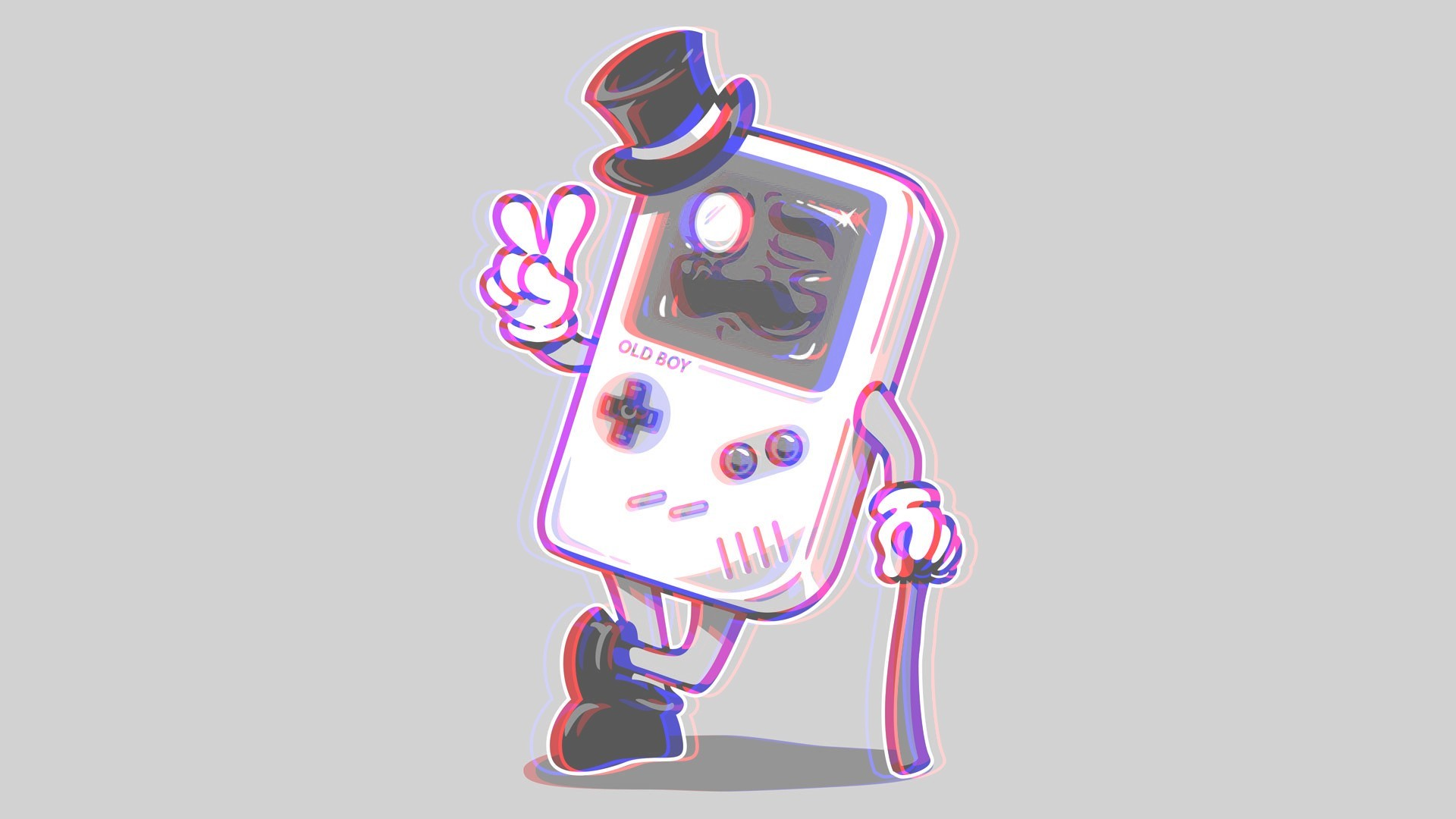 Preview wallpaper gameboy, anaglyph, 3d 1920×1080