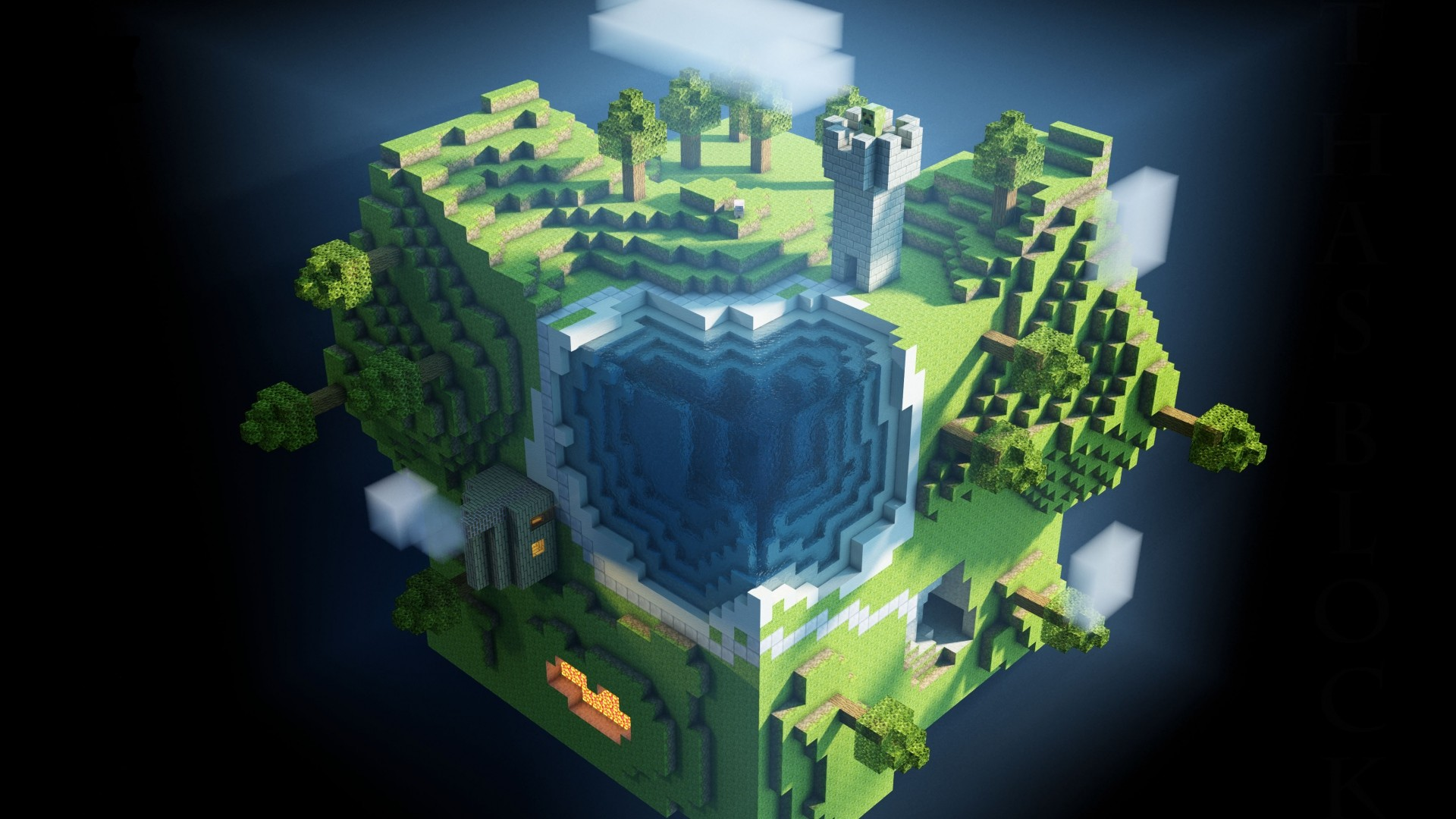 Preview wallpaper minecraft, planet, cube, cubes, world 1920×1080