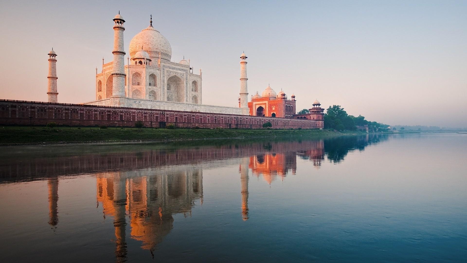 Preview wallpaper india, taj mahal, river, yamuna, dawn 1920×1080