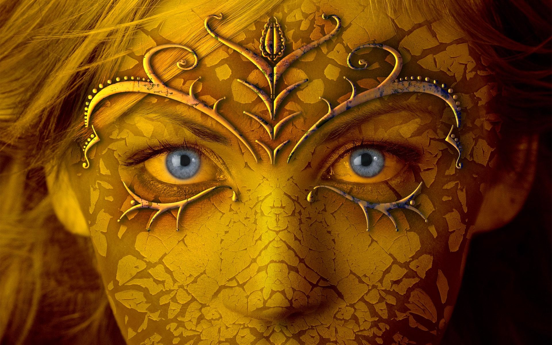 HD Golden Girl With Blue Eyes Wallpaper