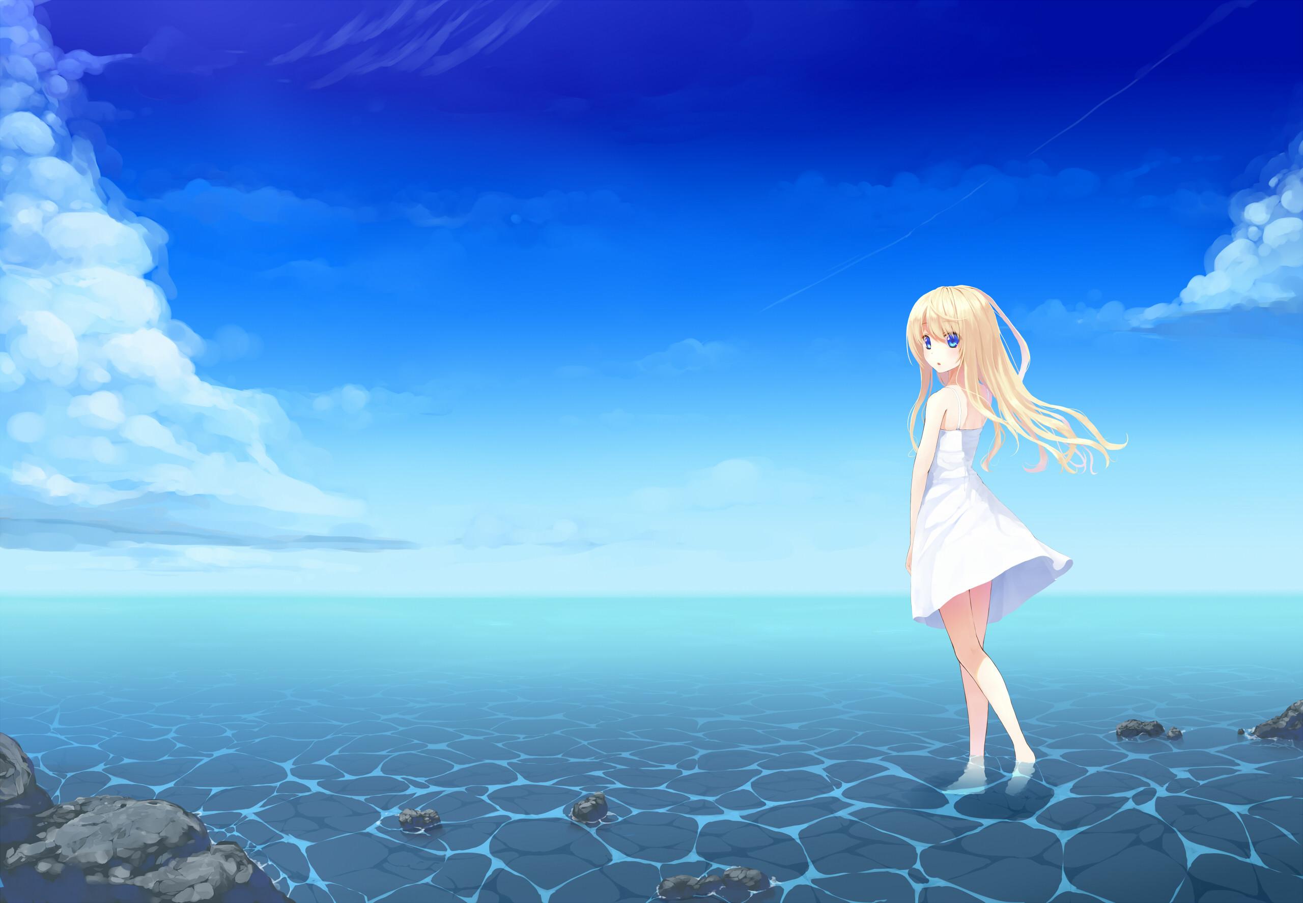 Blonde hair blue eyes clouds dress original sky uttt water .