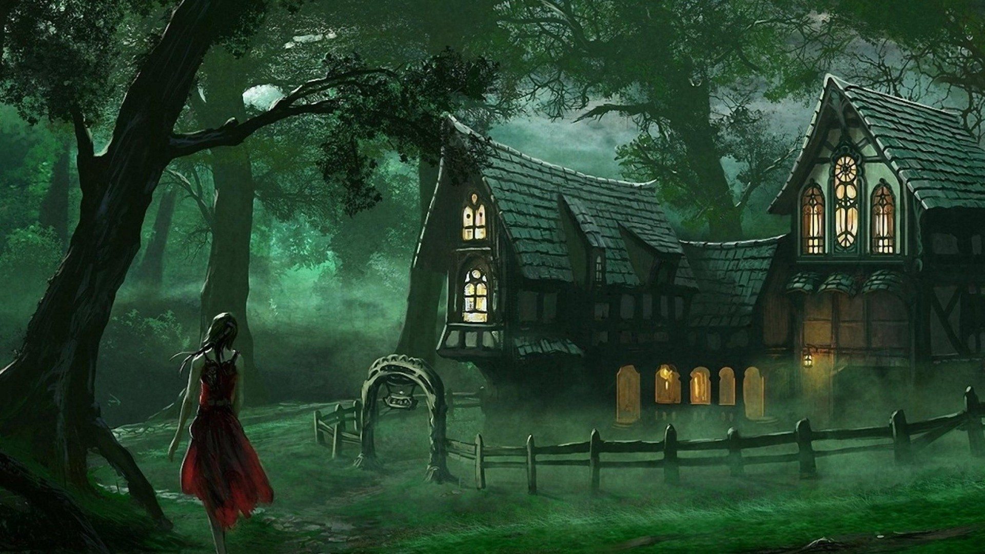 Spooky House Fantasy Forest Wallpaper