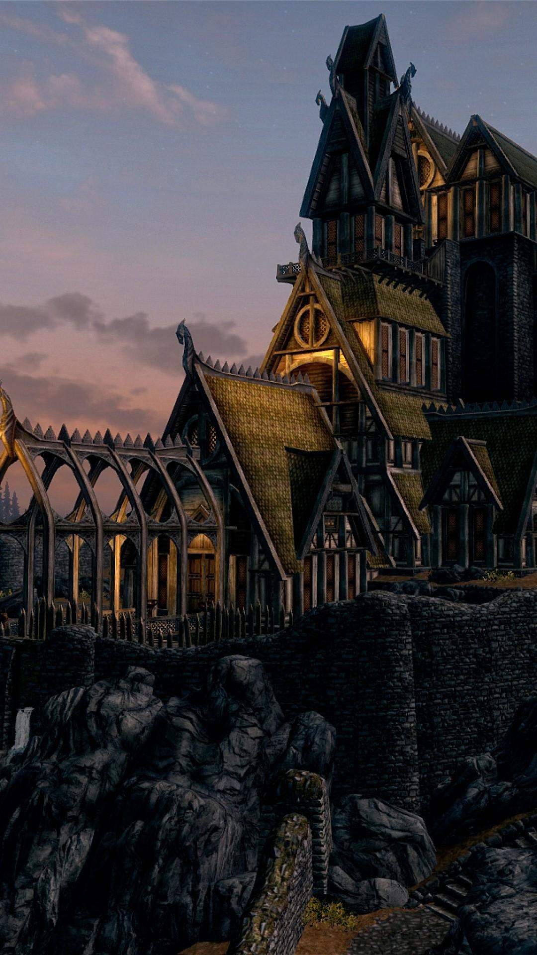 Wallpaper skyrim, buildings, mountains, night