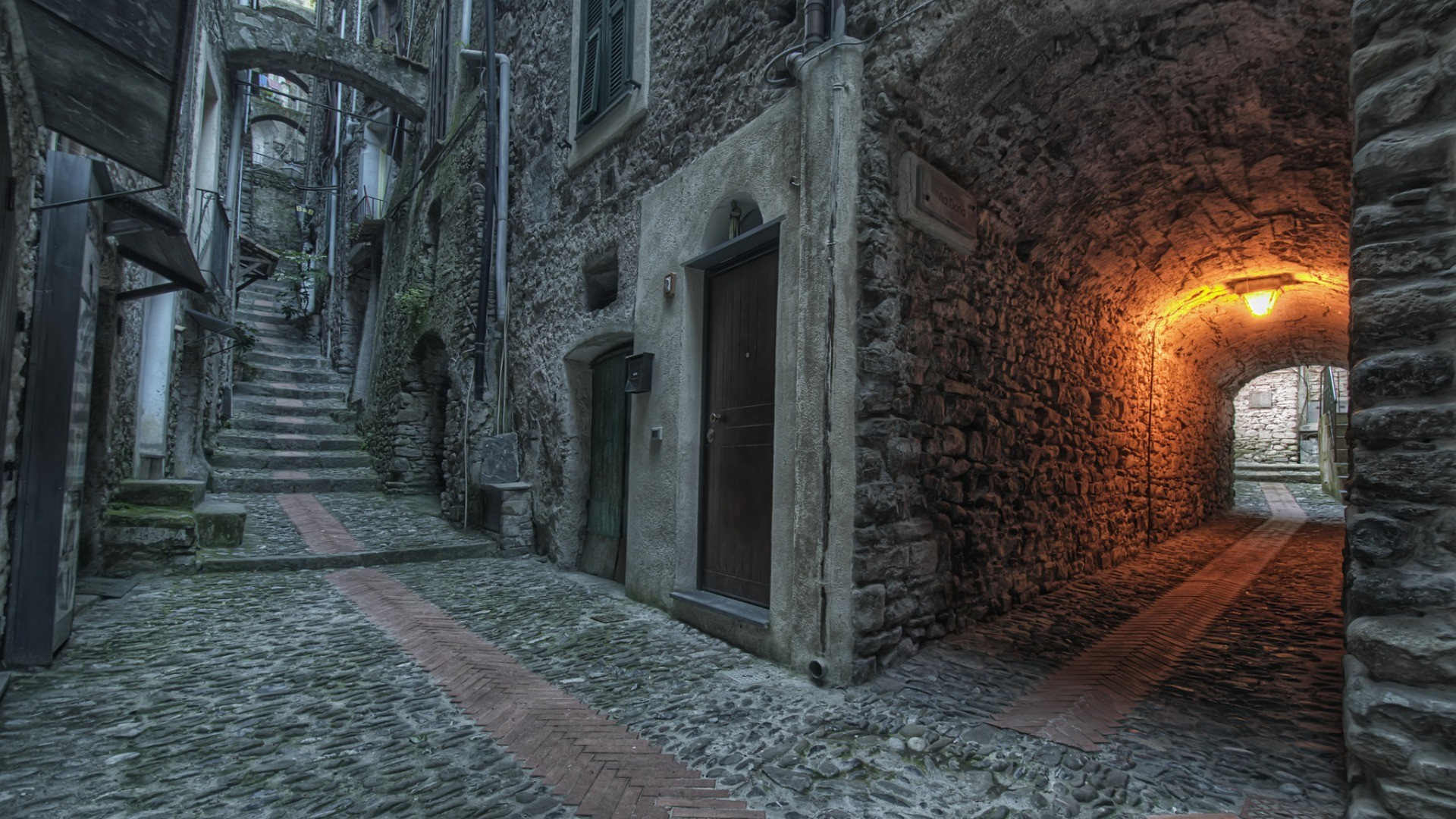General architecture old building town street urban lights stairs  door stones house arch