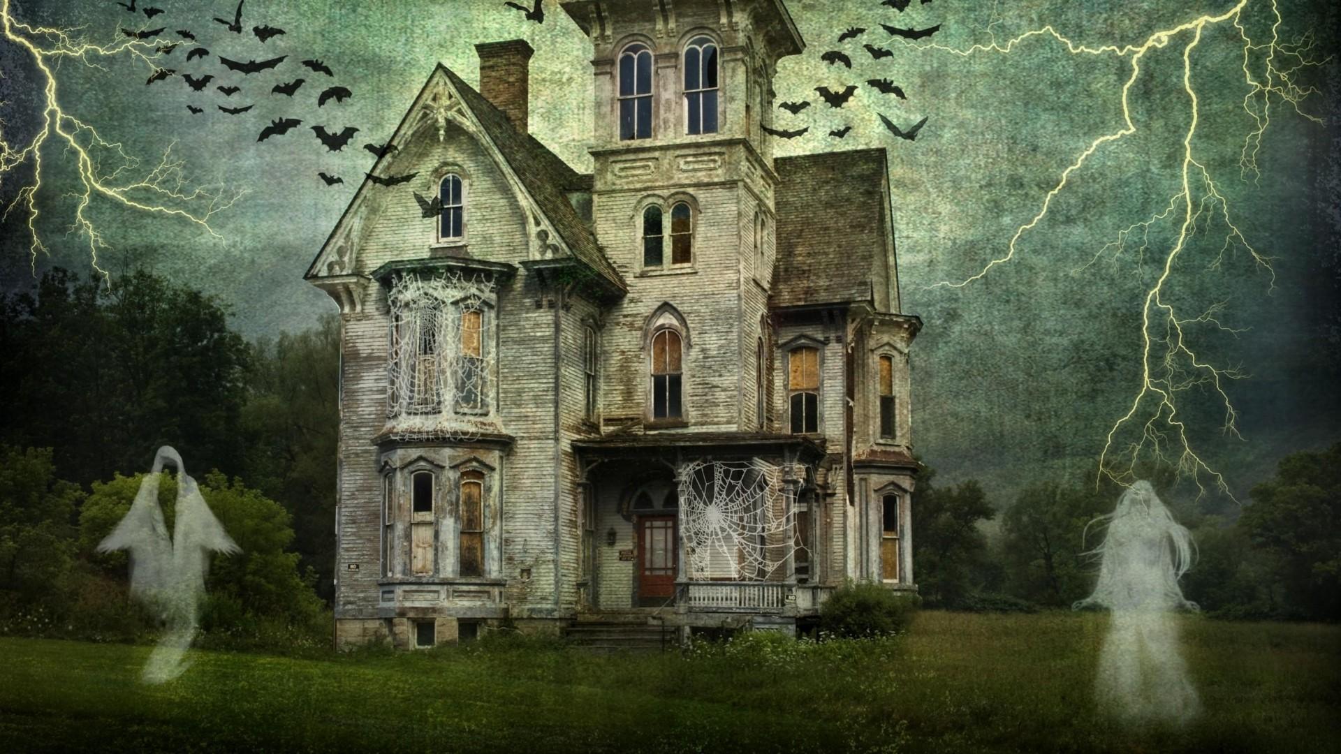 Wallpaper castle, cobwebs, ghosts, lightning, birds