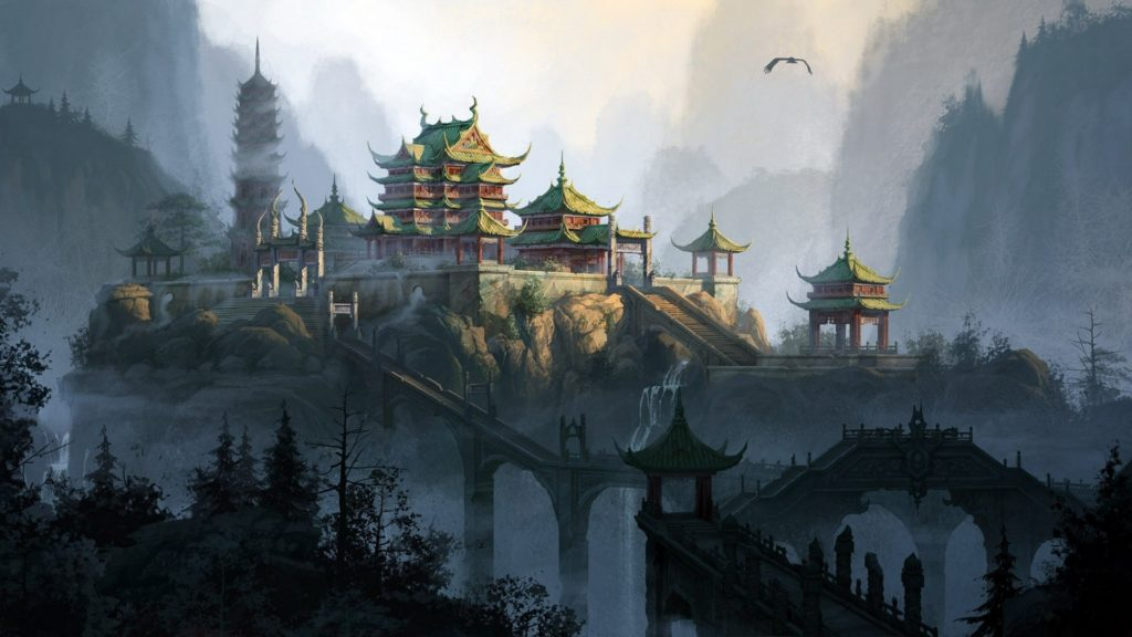 Living room bedroom home wall decoration fabric poster anime Asian  architecture mountain flying birds
