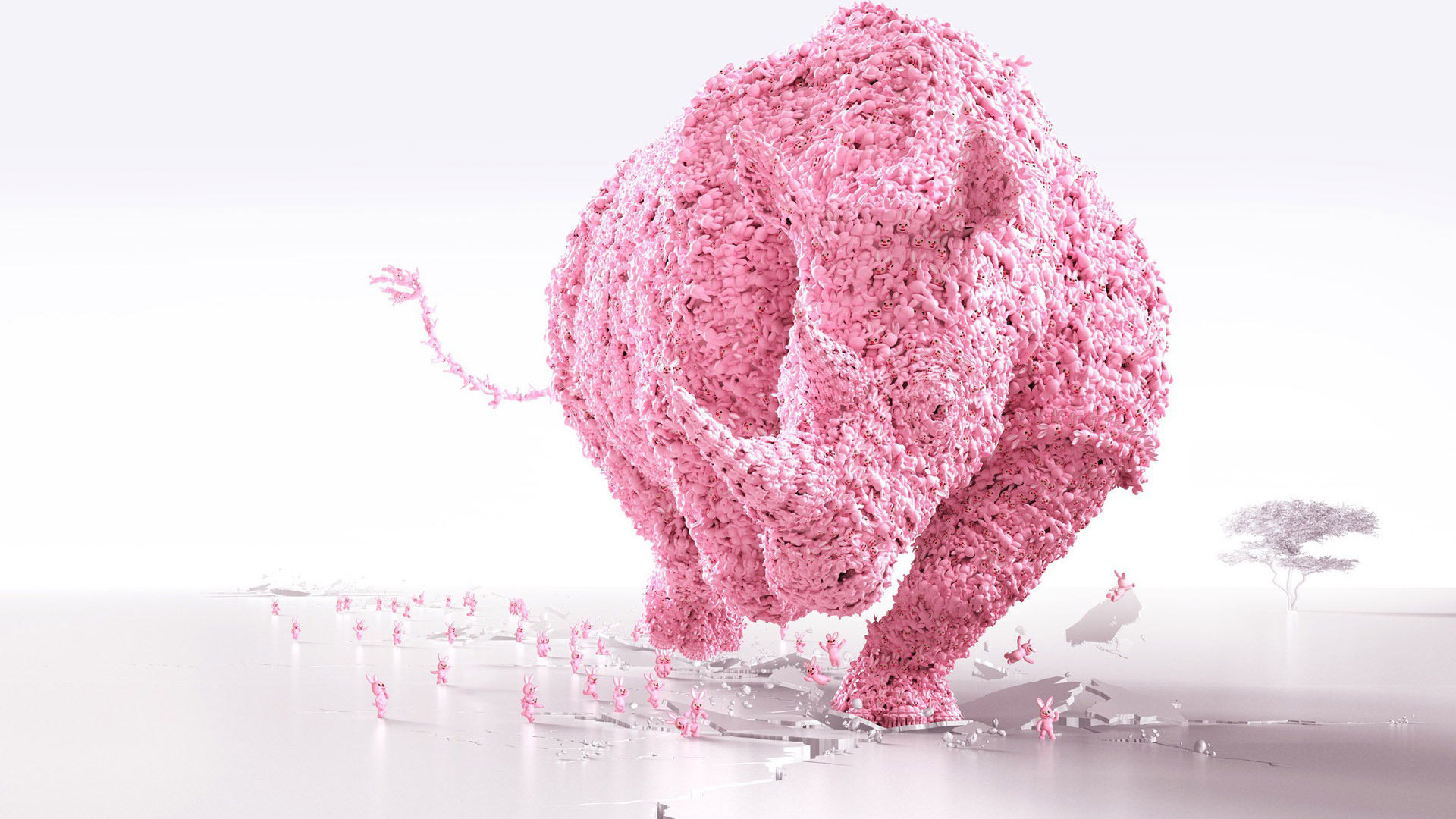 Download Pink bunny uniting as a rhino wallpaper