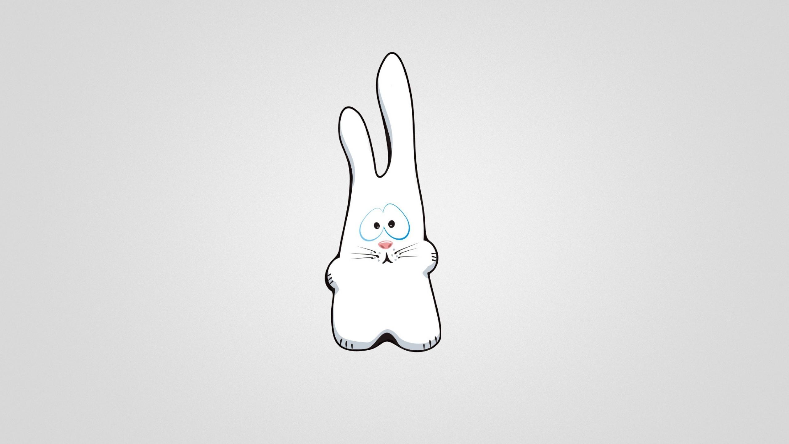 Preview wallpaper bunny, drawing, sad 2560×1440
