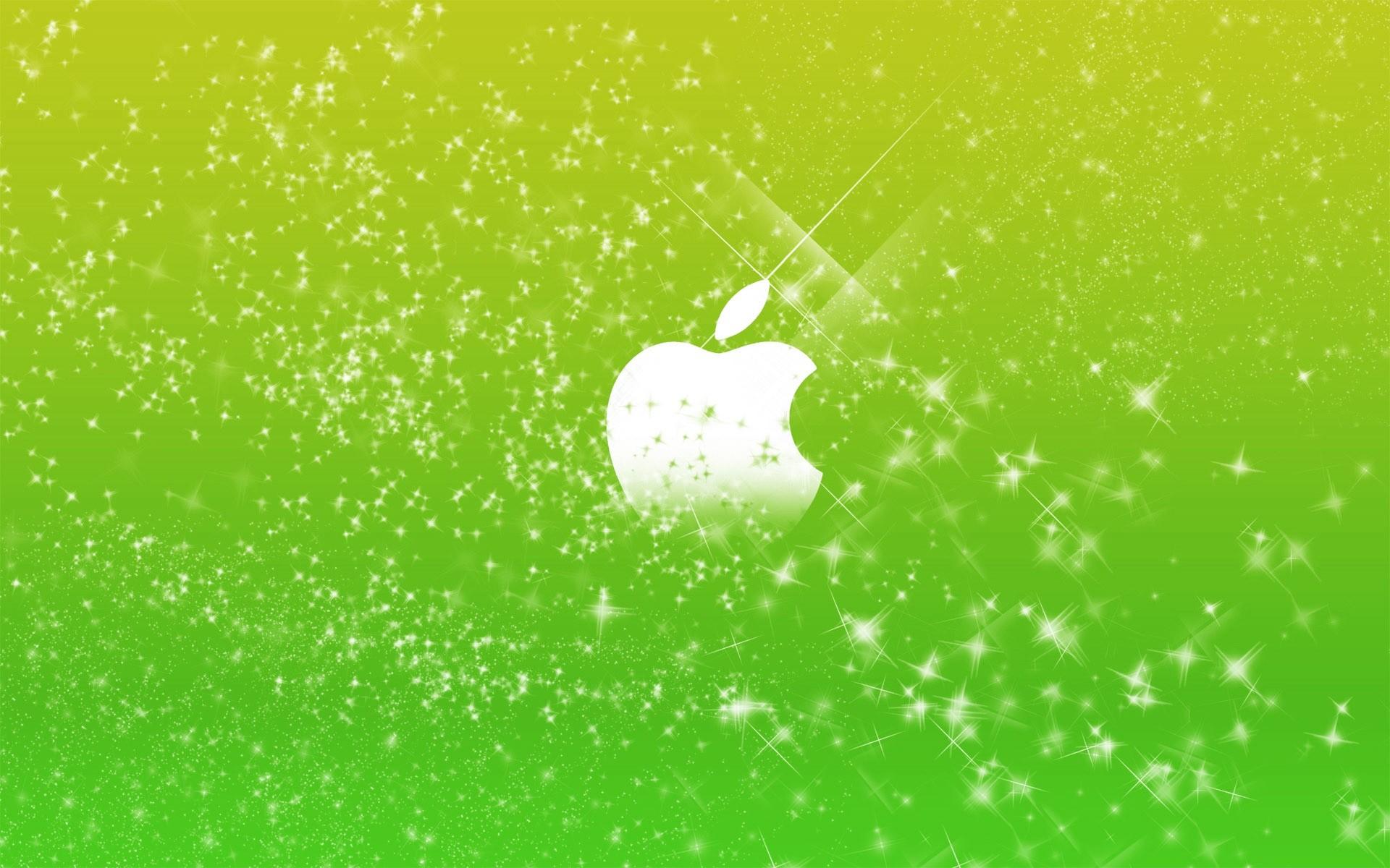 Apple Logo in Green Glitters