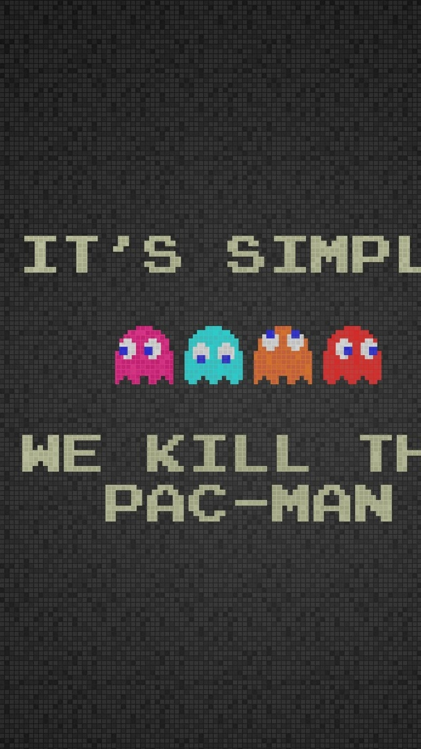 Wallpaper pacman, quote, characters, background, font