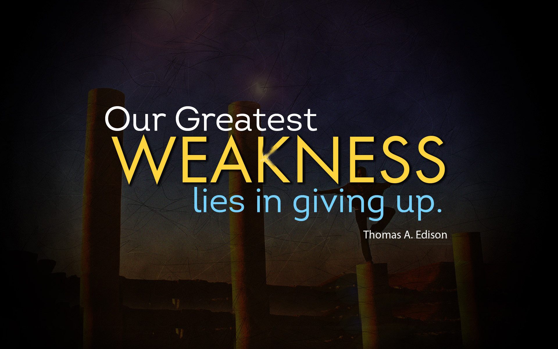 Inspirational Wallpaper on Weakness by Thomas A. Edison