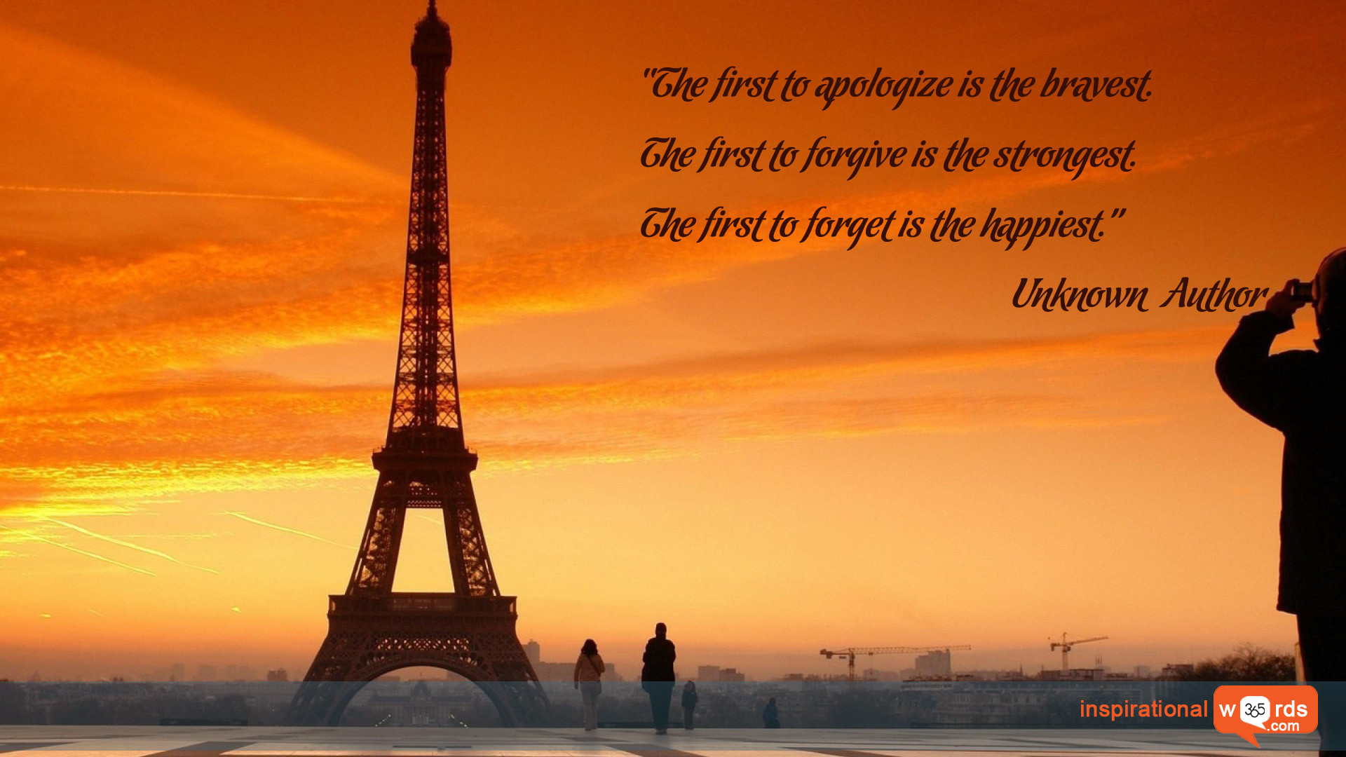 """Inspirational Wallpaper Quote. Unknown Author """"The first to apologize is  the bravest. The"""