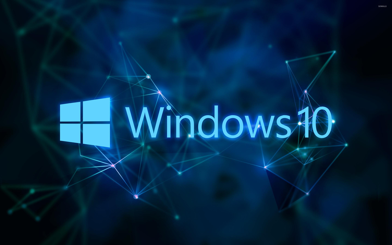Windows 10 text logo on blue network wallpaper jpg