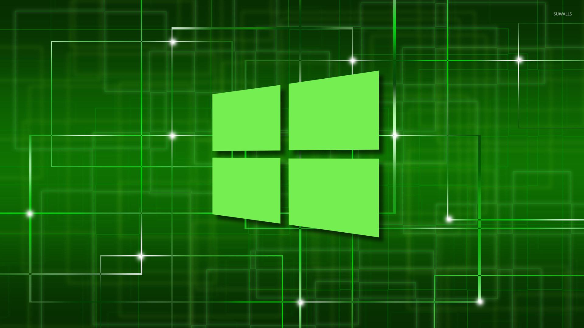 Windows 10 green simple logo on a network wallpaper – Computer .