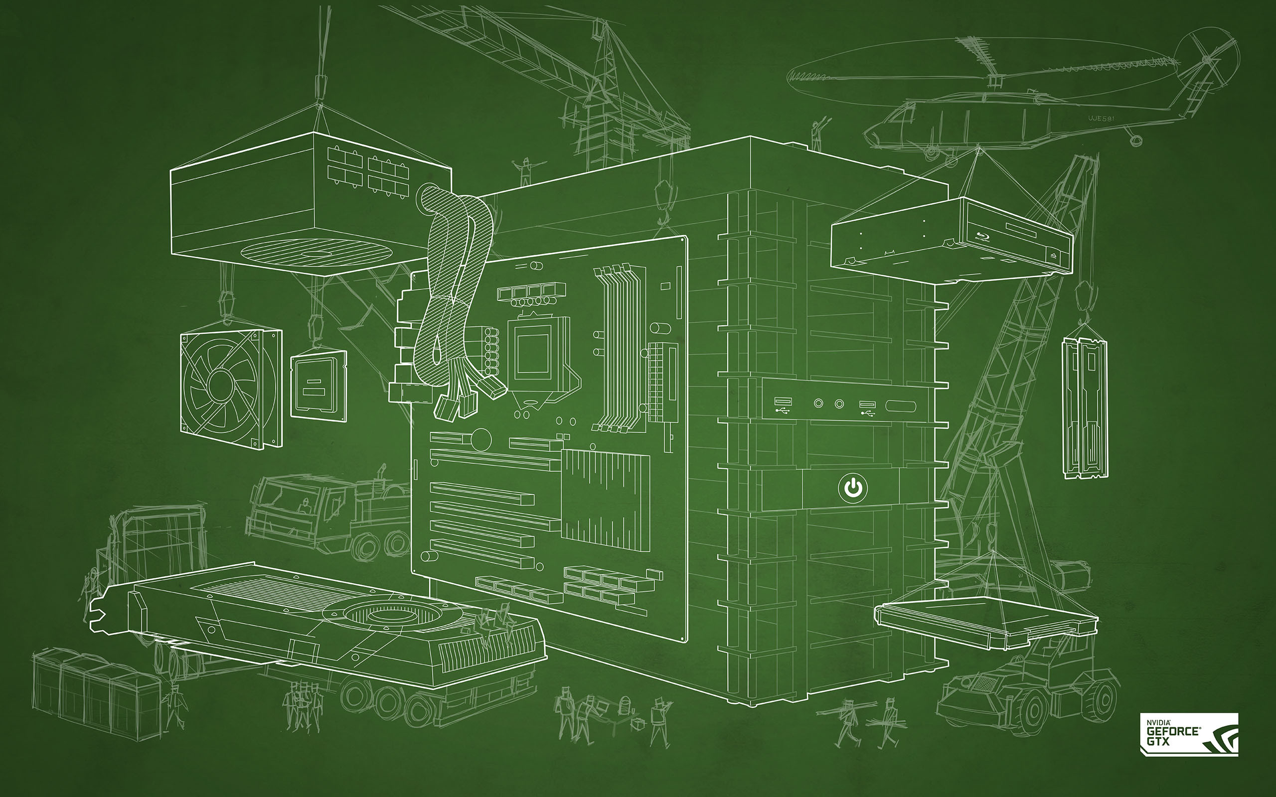 NVIDIA Computer Blueprint Wallpaper