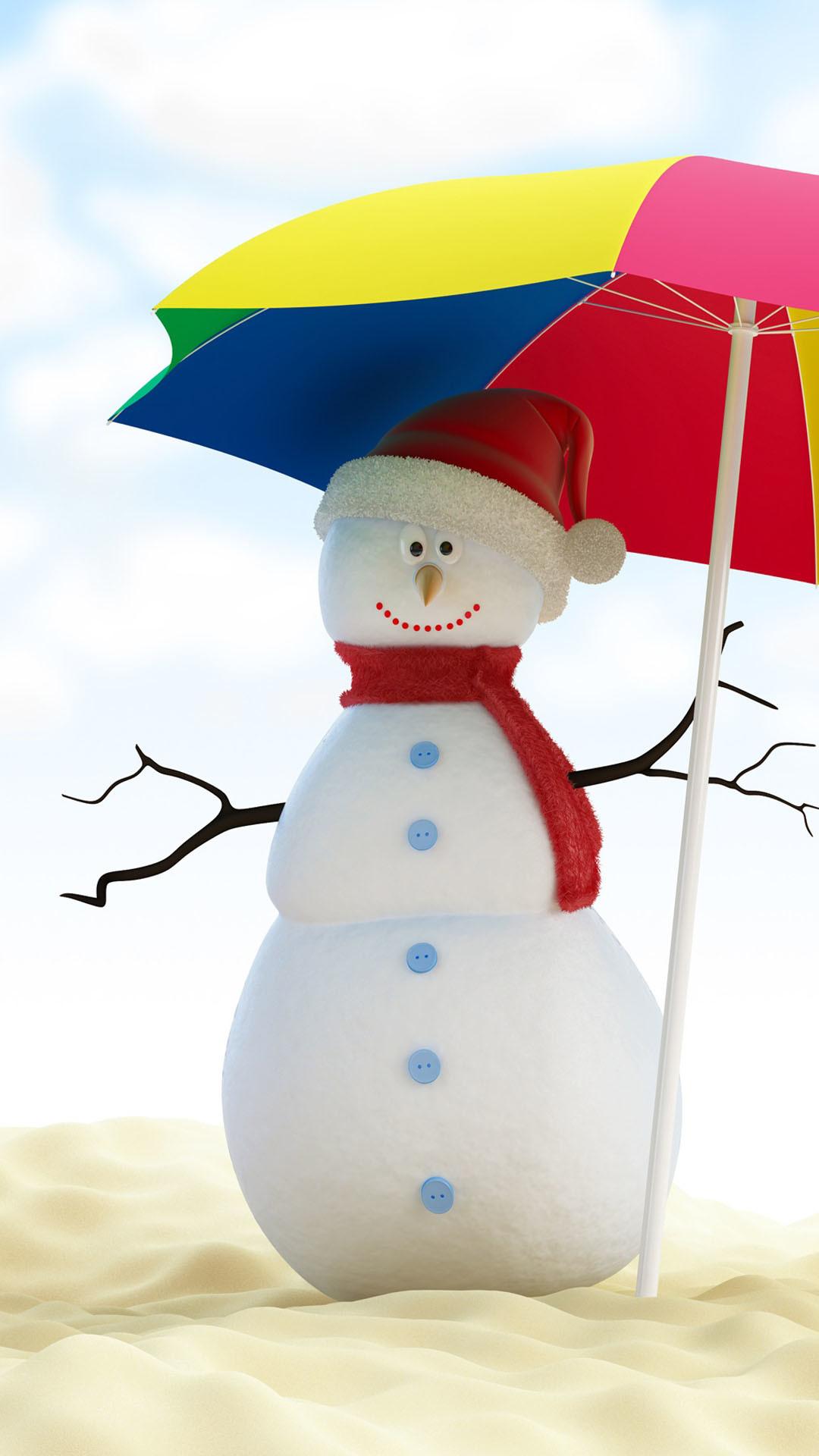 Christmas Snowman On Beach