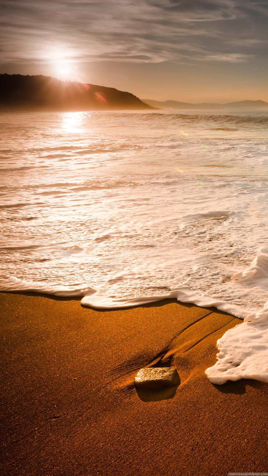 Nature iPhone 6 Plus Wallpapers – Sunset Foamy Beach Wave iPhone 6 Plus HD  Wallpaper