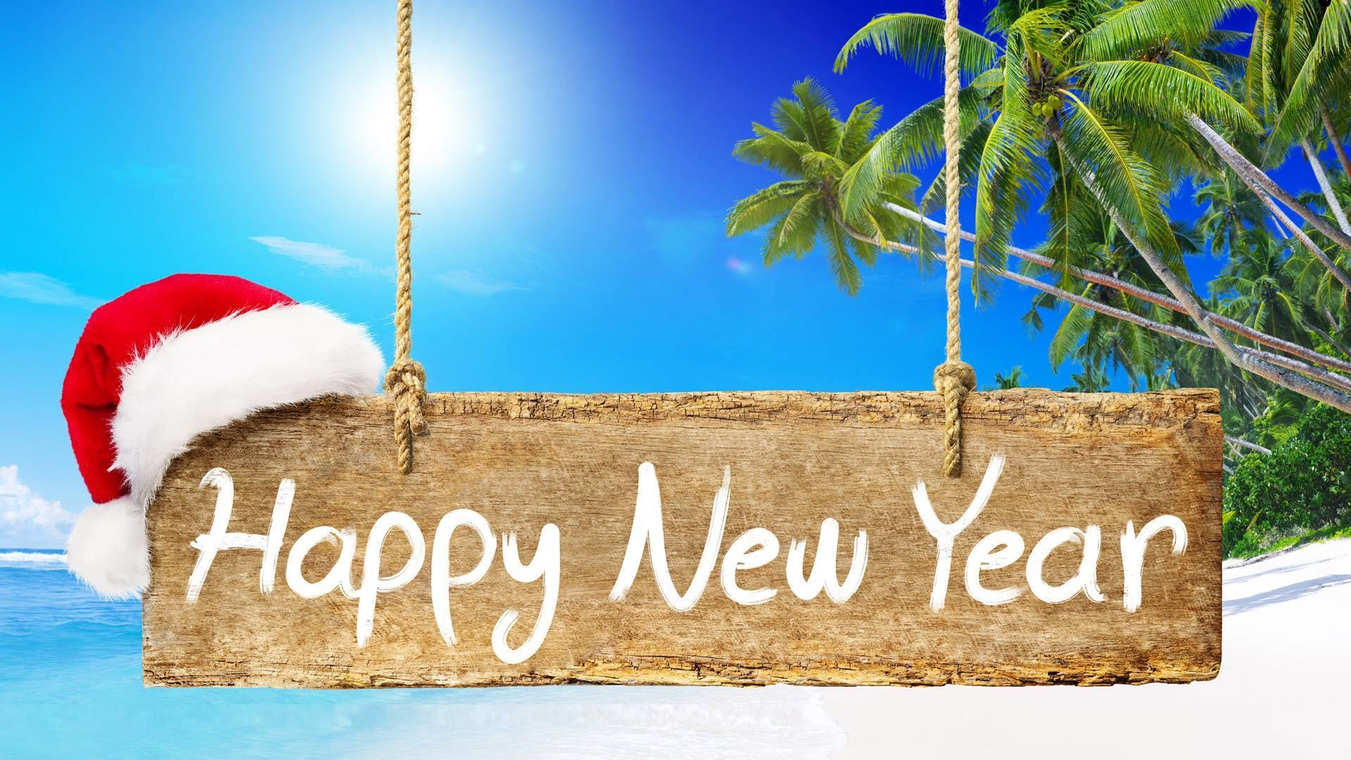 4K Merry Christmas Happy New Year Beach Wallpapers