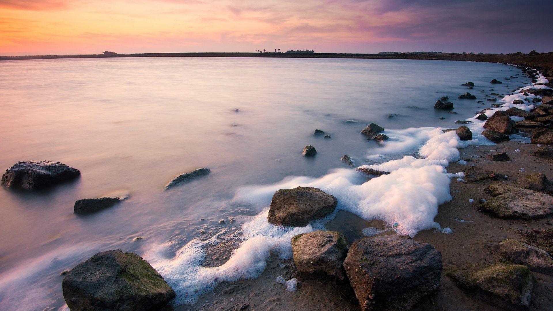 Beaches – Surface Tension Foam Beach Photo for HD 16:9 High Definition  1080p 900p