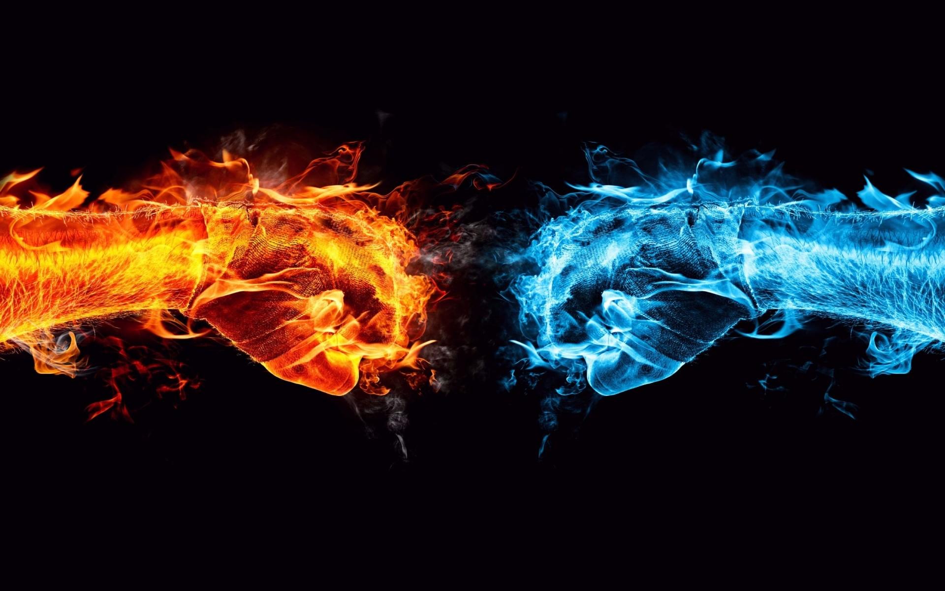 3D Creative Hot vs Cold logic Wallpaper