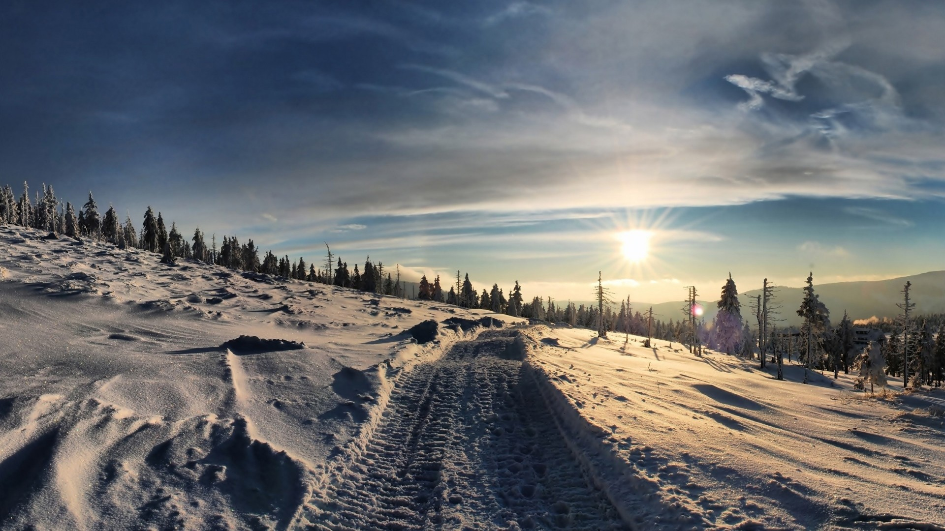 Preview wallpaper road, traces, snowmobile, mountains, cover, winter  1920×1080