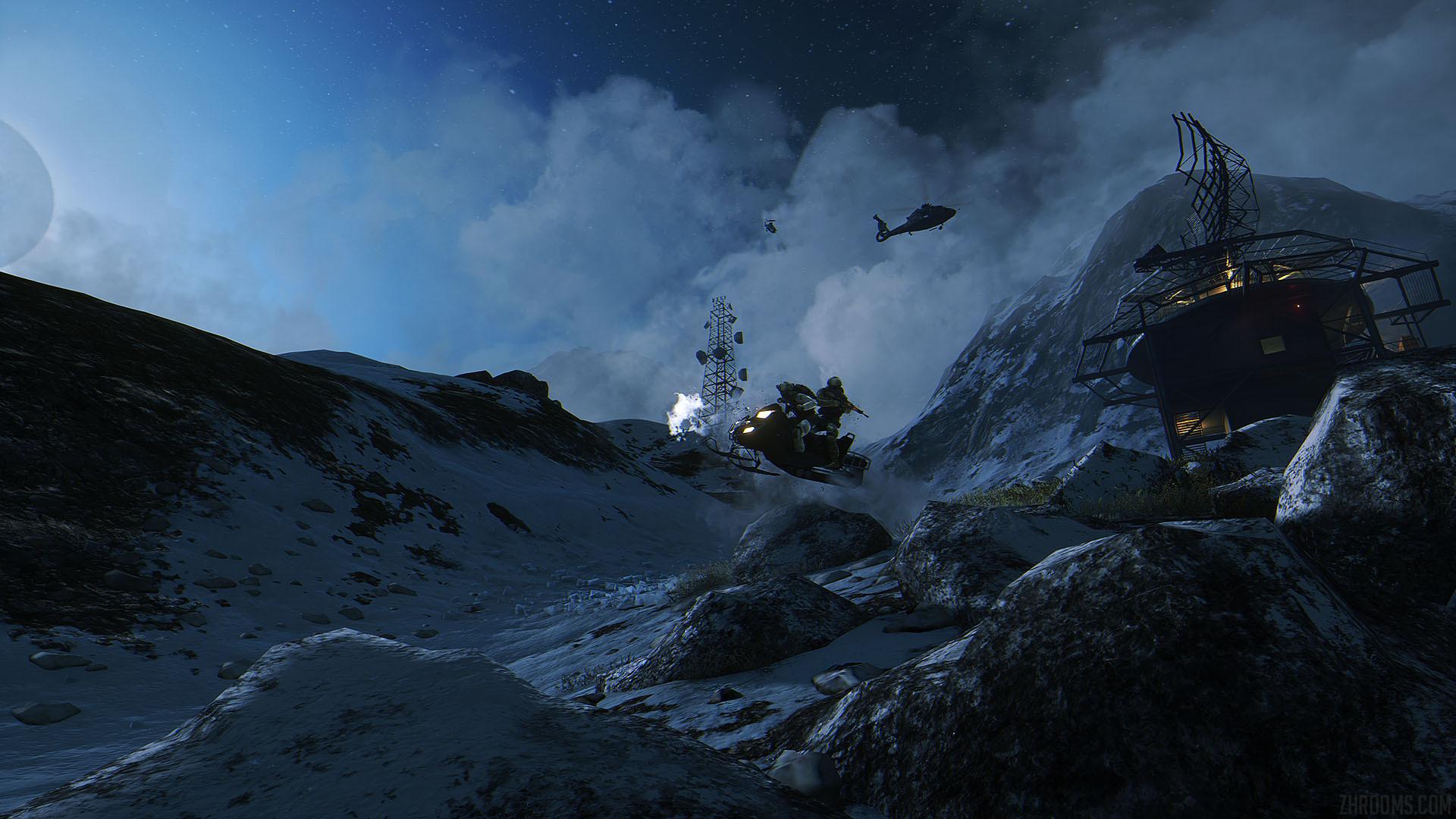 """Battlefield 4 – Snowmobile Jump on """"Hangar 21"""" map wallpaper"""