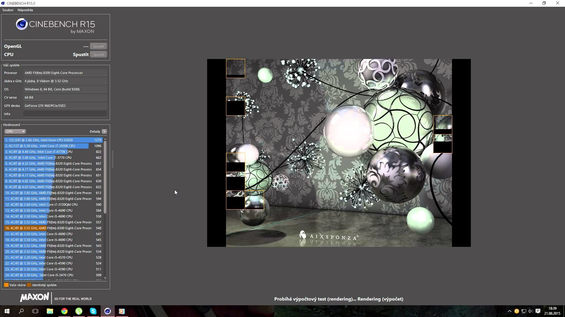 Test CINEBENCH R15 ▻ AMD FX-8300 3.50Ghz OC ▻ MSI GTX 960 GAMING 2G