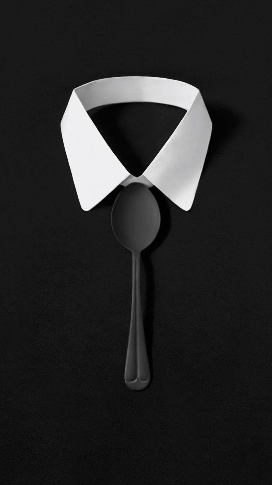 Dark Simple Suit Spoon Tie Simple iPhone 8 wallpaper