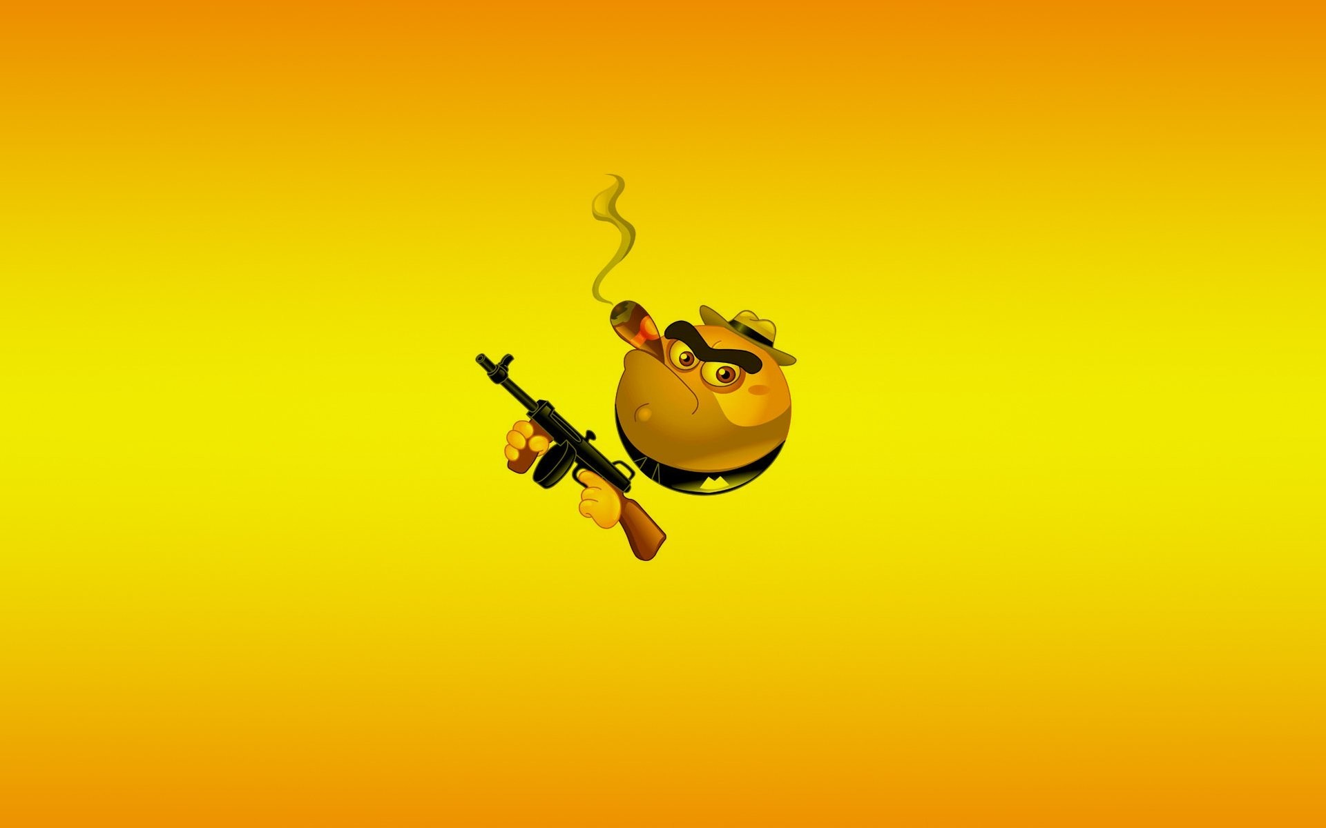 smile smile weapon yellow machine a gangster cigar minimalism