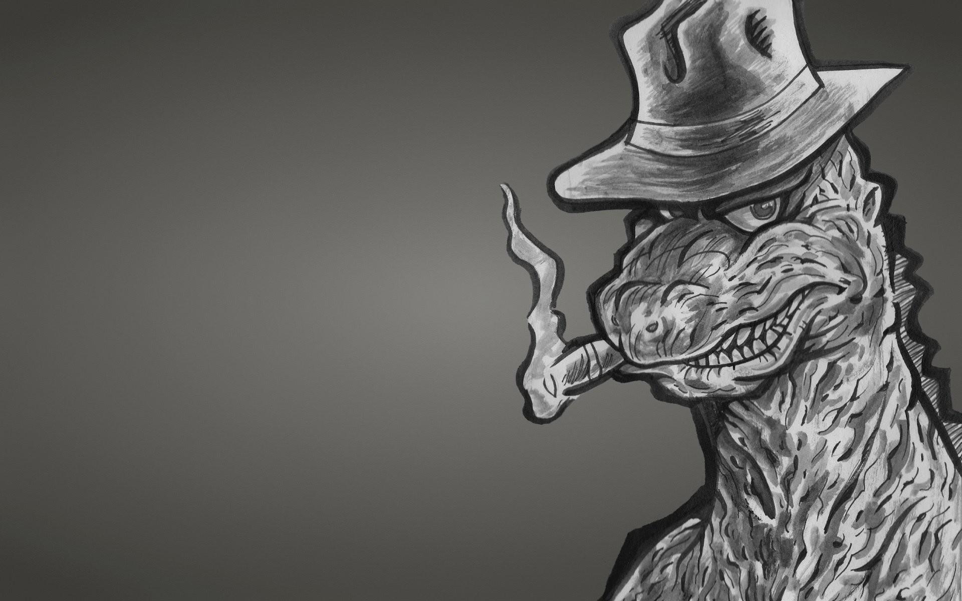 godzilla dinosaur godzilla monster dinozaur dusky background hat cigar a  gangster