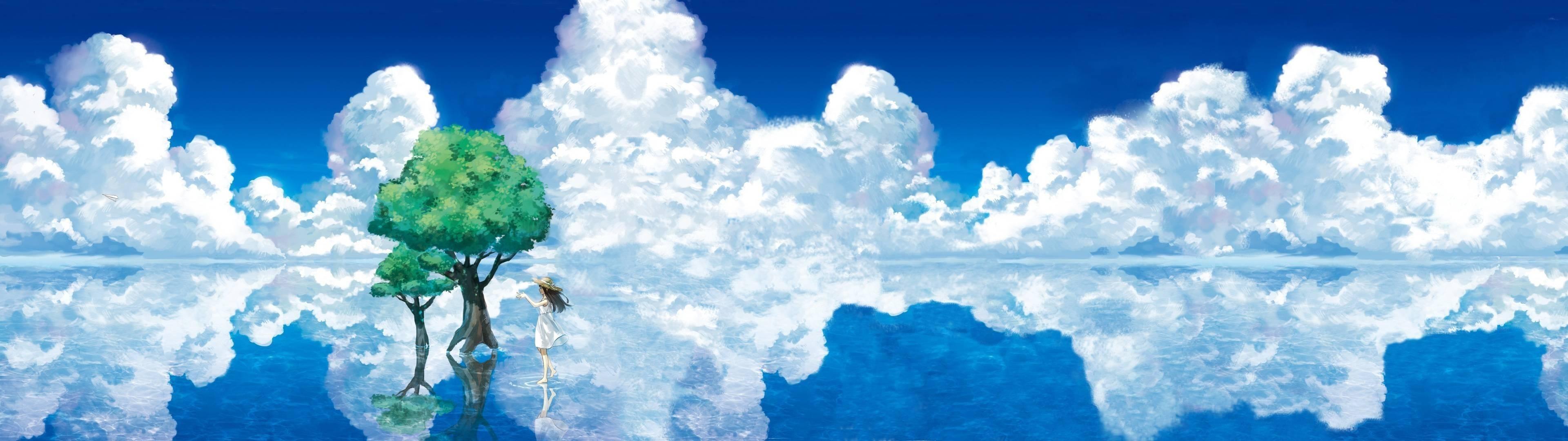 anime landscape dual screen wallpaper 3840×1080