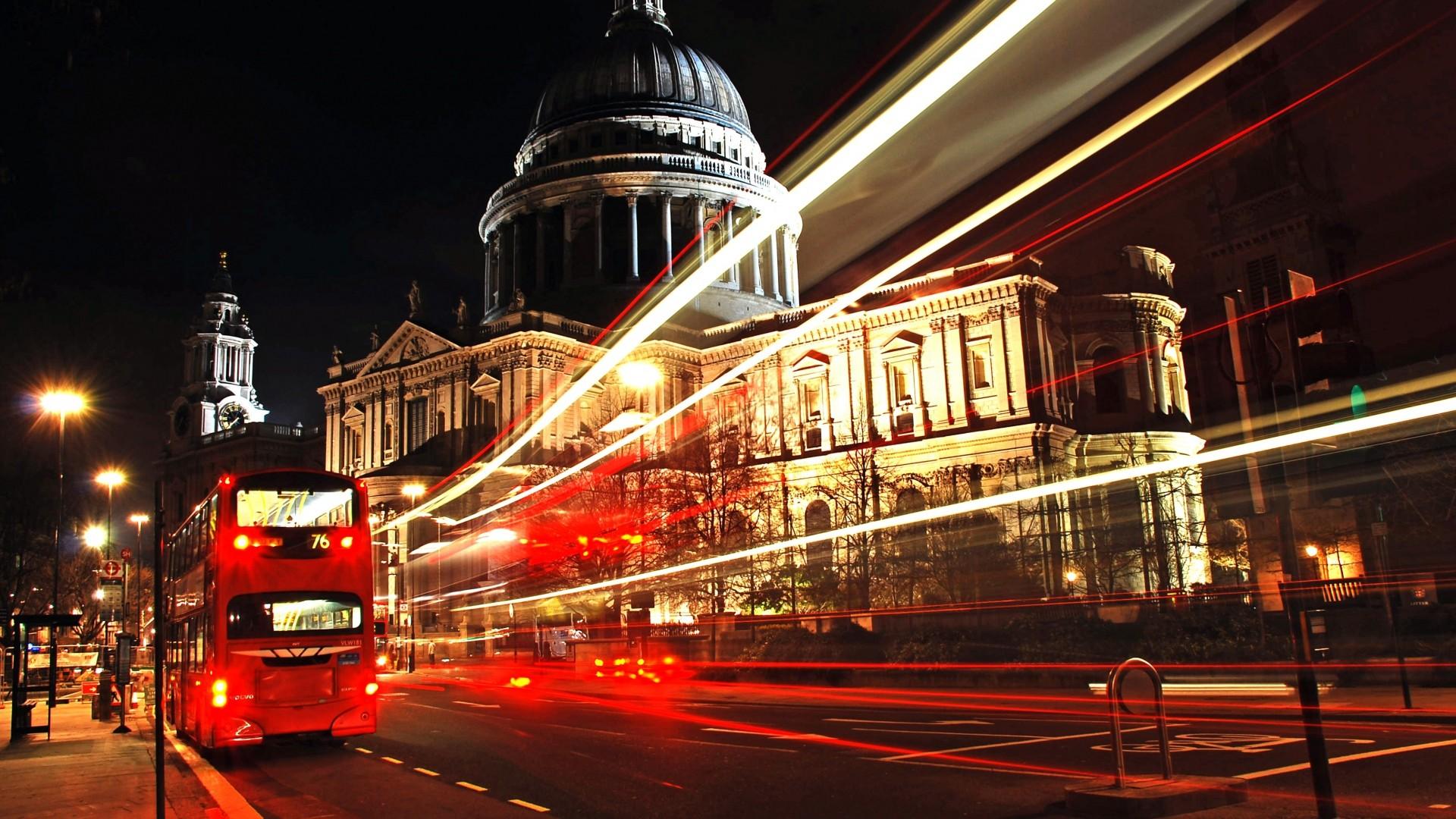 Wallpaper london, city, bus, night